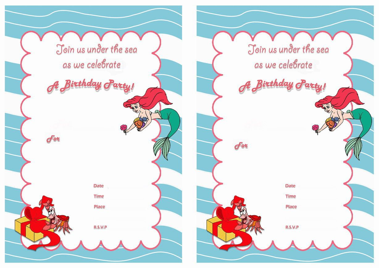 Little Mermaid Free Printable Birthday Party Invitations | Birthday - Free Little Mermaid Printable Invitations