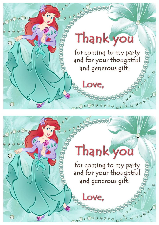 Little Mermaid Thank You Cards   Birthday Printable - Free Printable Mermaid Thank You Cards