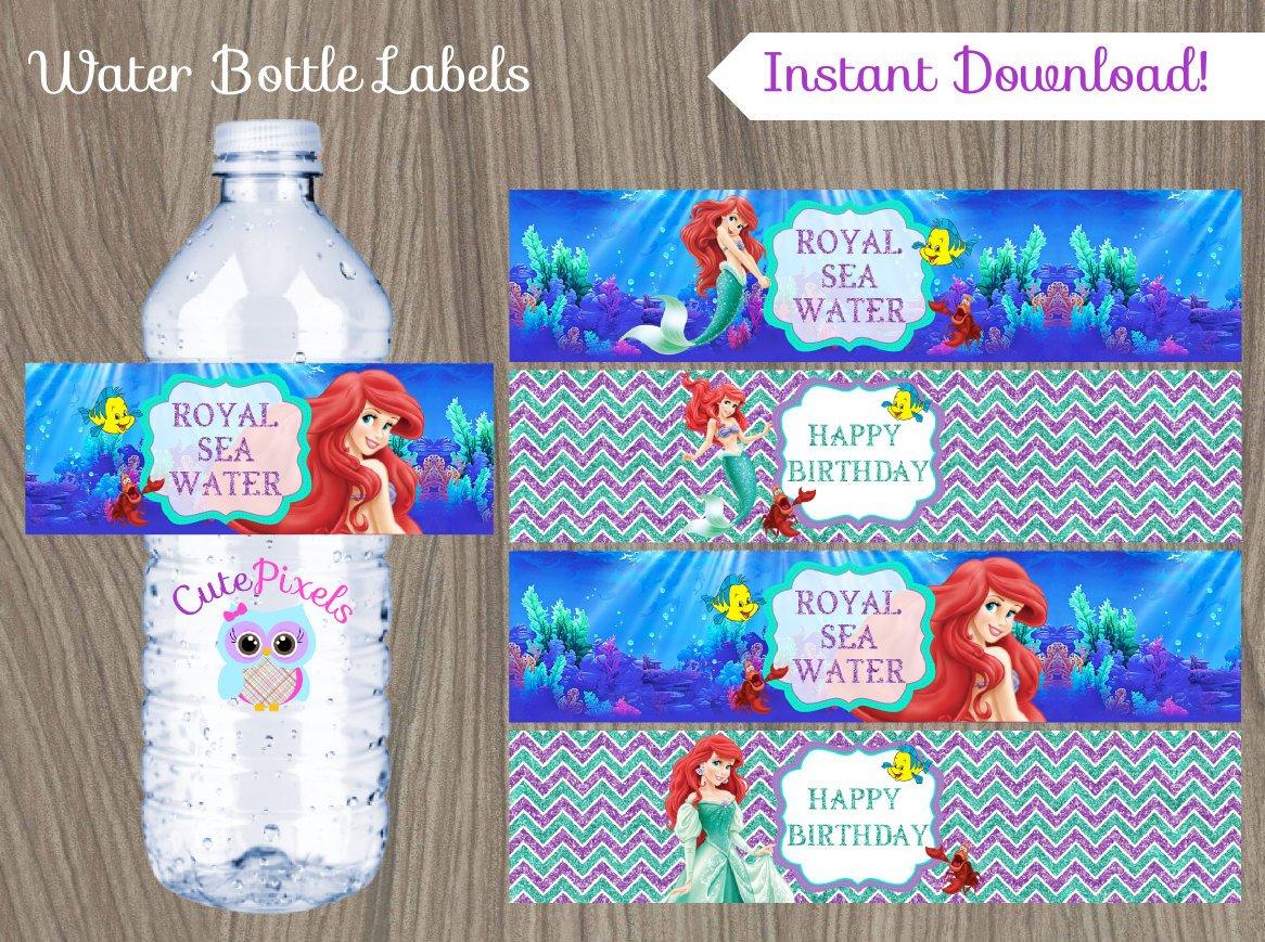 Little Mermaid Water Bottle Label Ariel Bottle Label Disney | Etsy - Free Printable Little Mermaid Water Bottle Labels