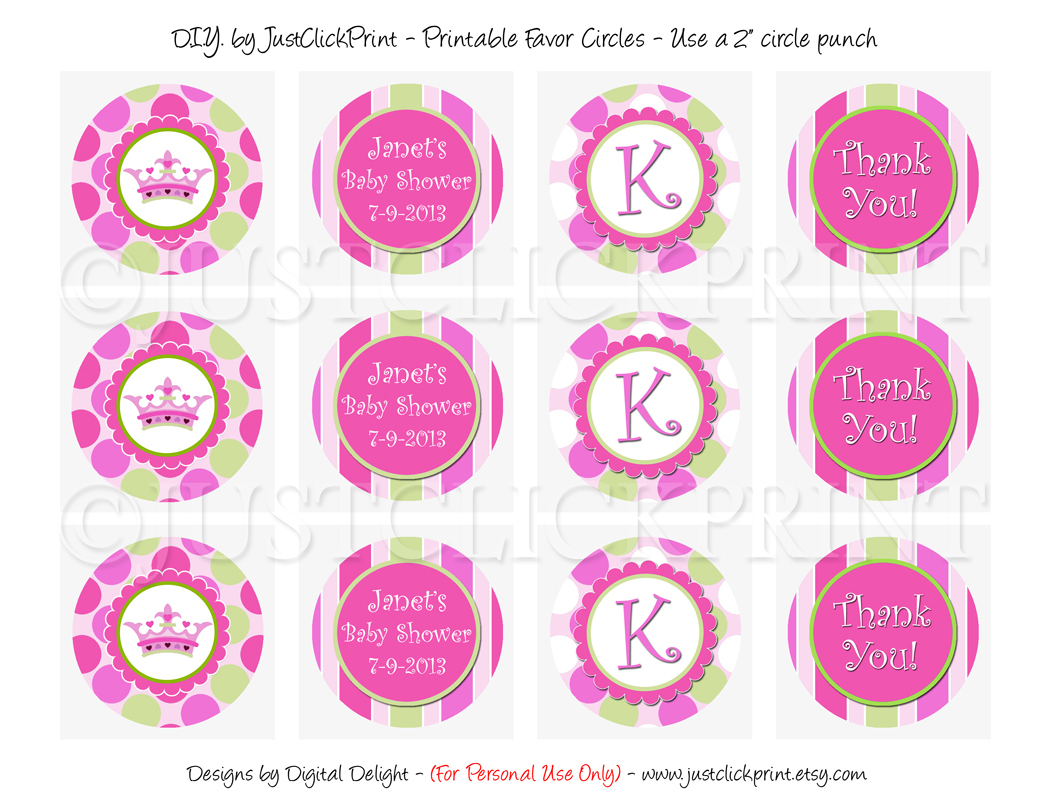 Little Princess Baby Girl Shower Favor Tags Cupcake Toppers - Baptism Cupcake Toppers Printable Free