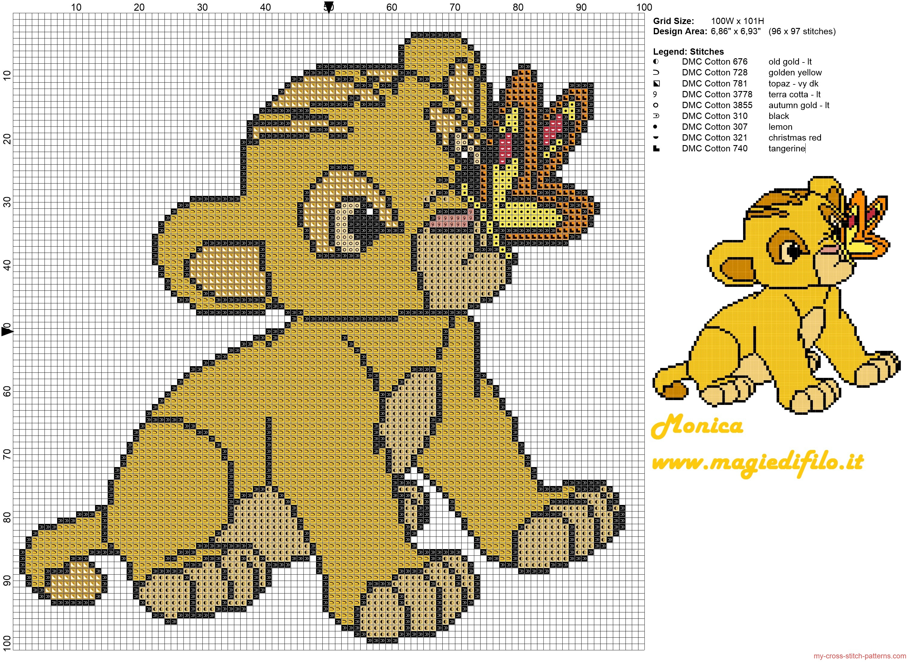 Little Simba (The Lion King) Cross Stitch Pattern - Free Cross - Baby Cross Stitch Patterns Free Printable
