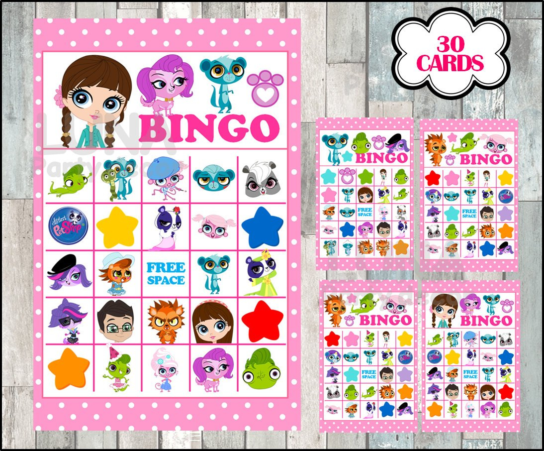 Littlest Pet Shop Bingo 30 Cards Instant Download Printable   Etsy - Littlest Pet Shop Invitations Printable Free