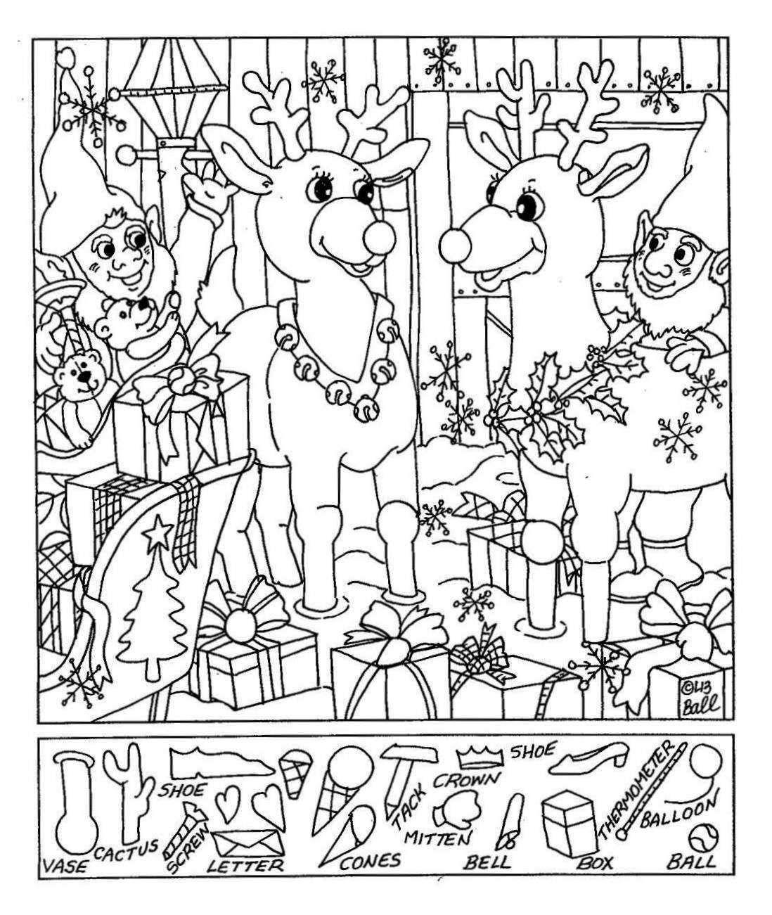 Liz's Hidden Pictures- Reindeer | Christmas - Free Printable Christmas Hidden Picture Games