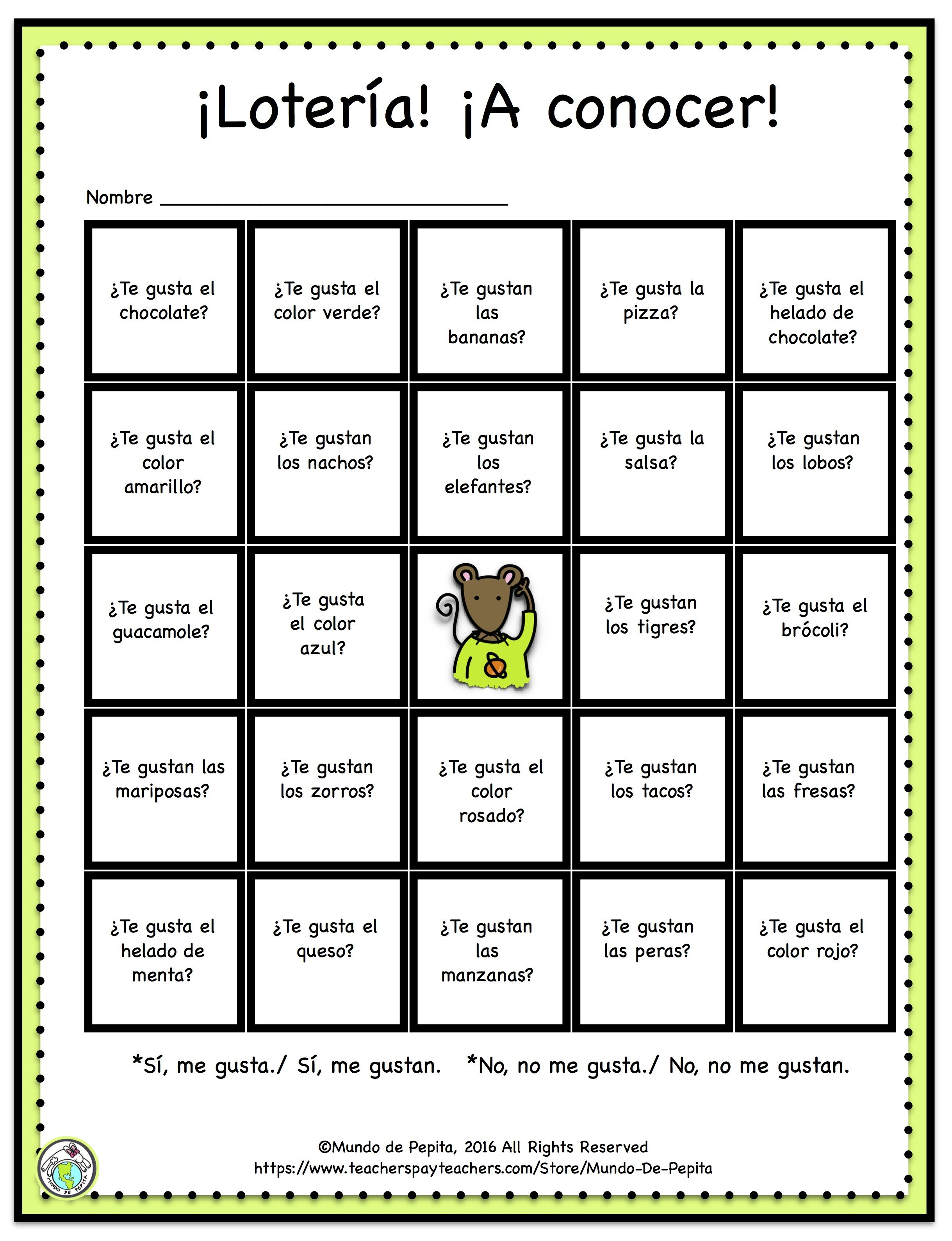 Loteria Printable Game Board Featuring Gustar | Spanish Kids - Free Printable Loteria Game