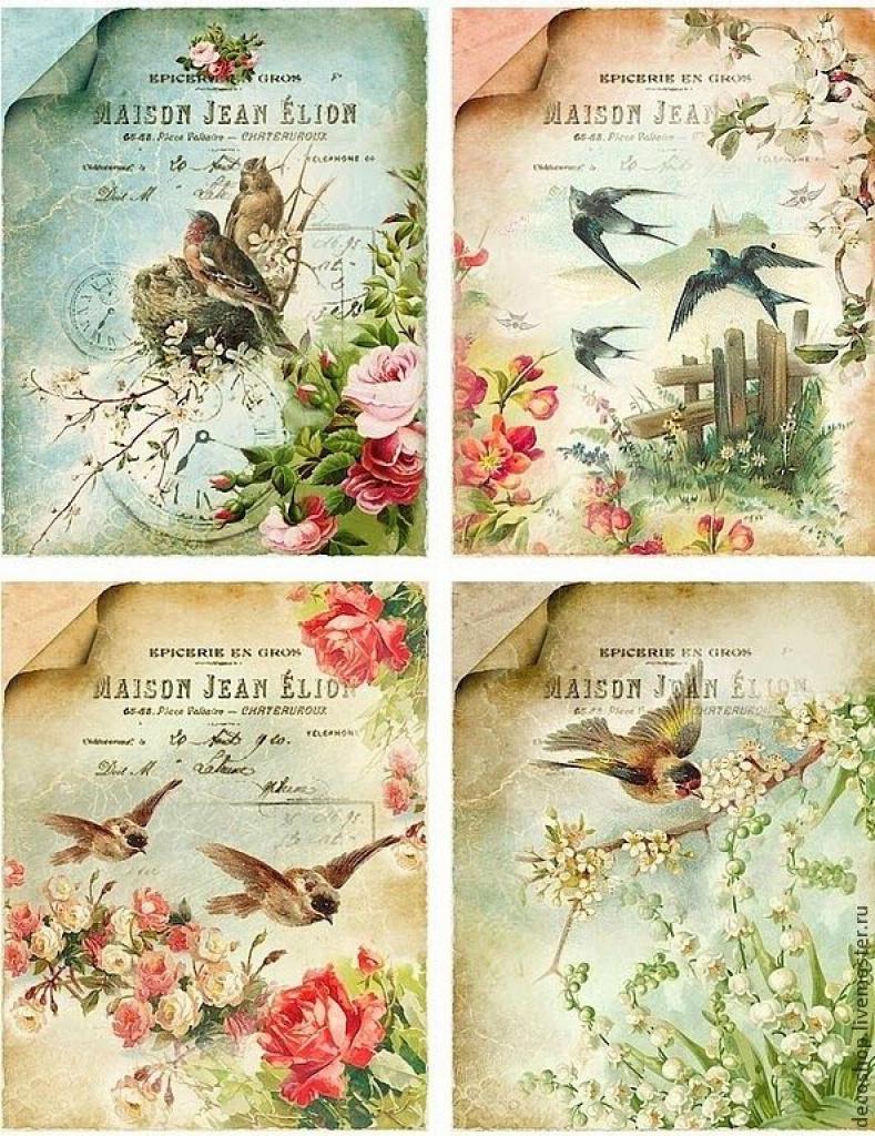 Lots Of Free Beautiful Vintage Printable Sheets.   Flowers In Free - Free Printable Decoupage Flowers