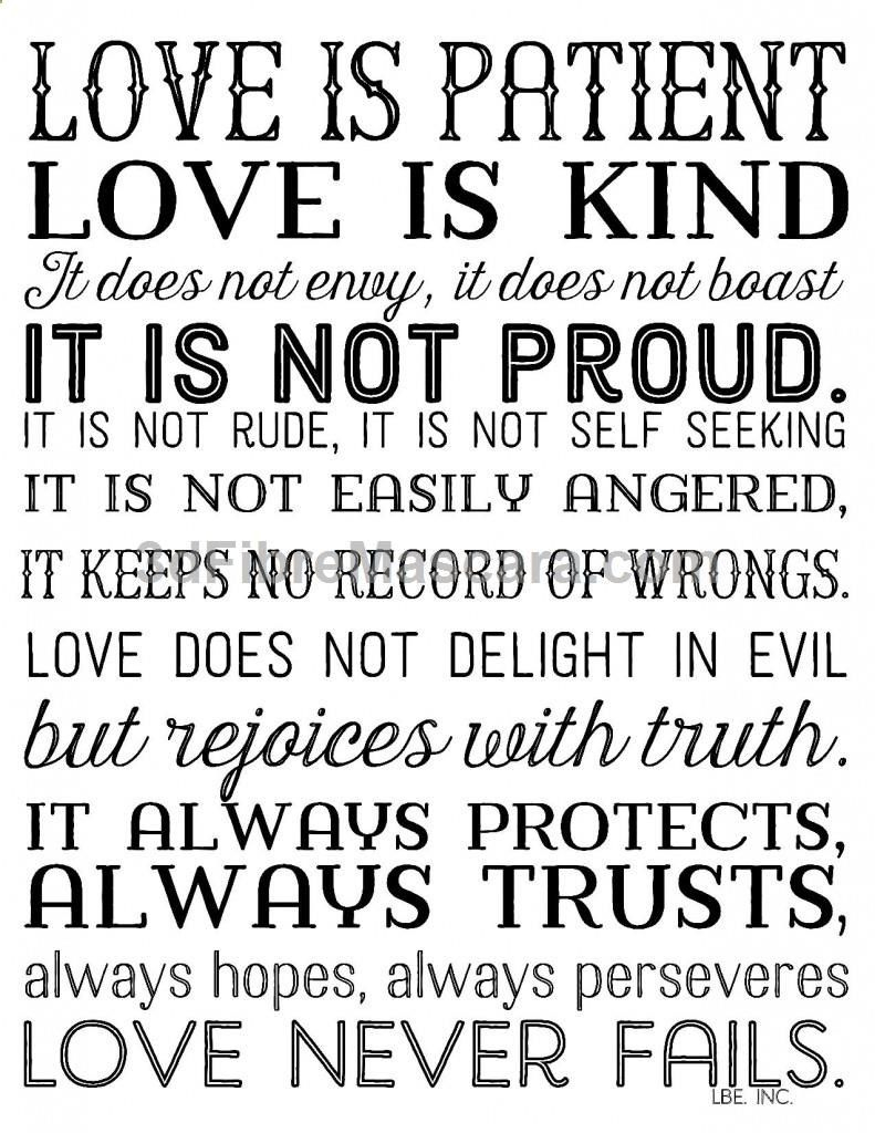Love Is Patient Love Is Kind. Free Printable In 3 Color Options. 1 - Love Is Patient Free Printable