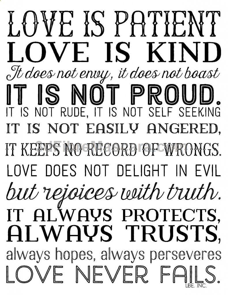 Love Is Patient Love Is Kind. Free Printable In 3 Color Options. 1 - Love Is Patient Love Is Kind Free Printable