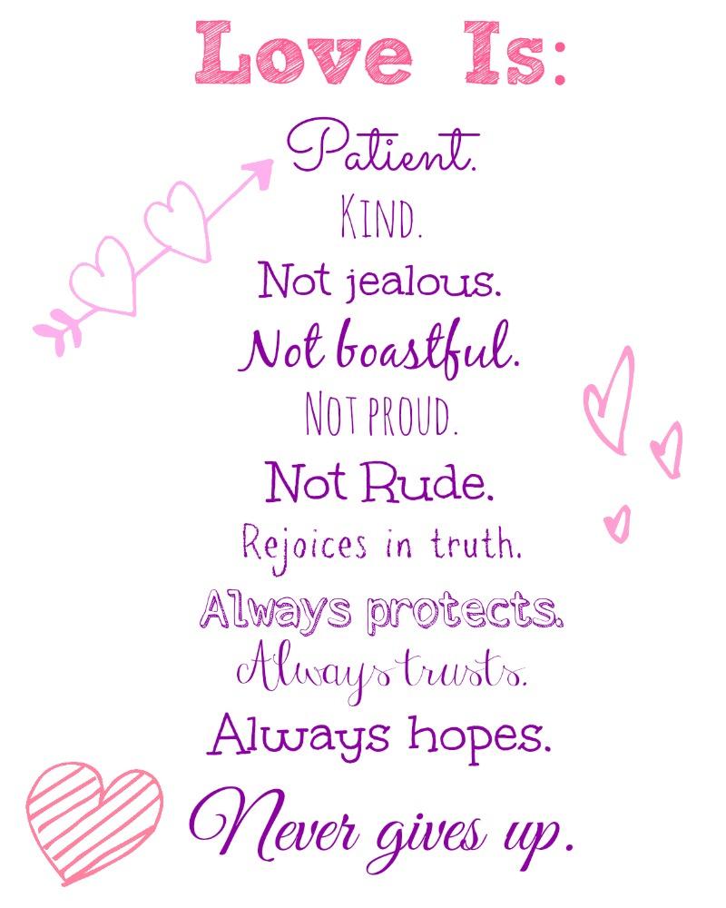 Love Is..valentine's Day Free Printable! - Nessa Makes - Love Is Patient Free Printable