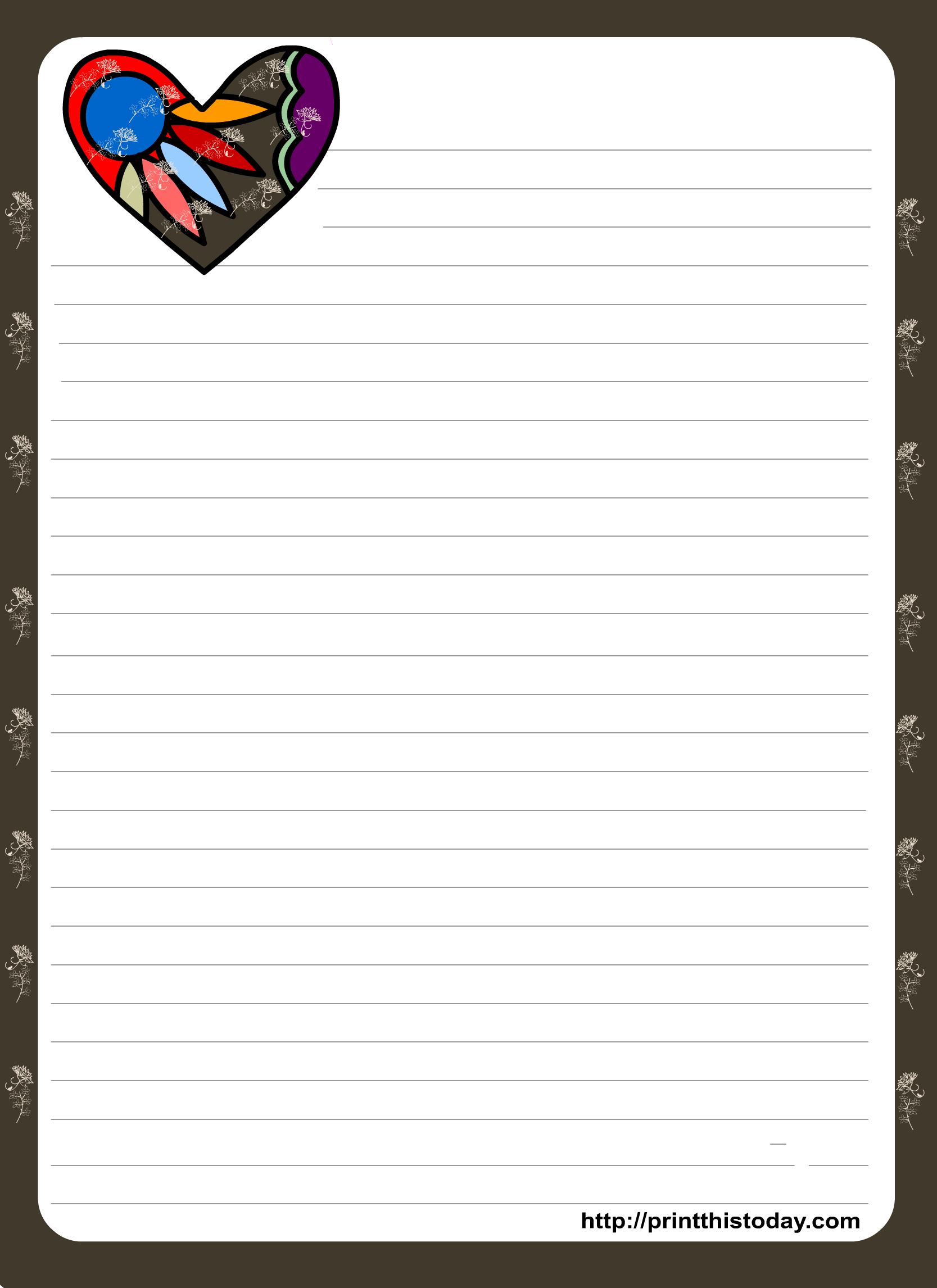 Love Letter Pad Stationery With Colorful Heart | Organization - Free Printable Stationary Pdf
