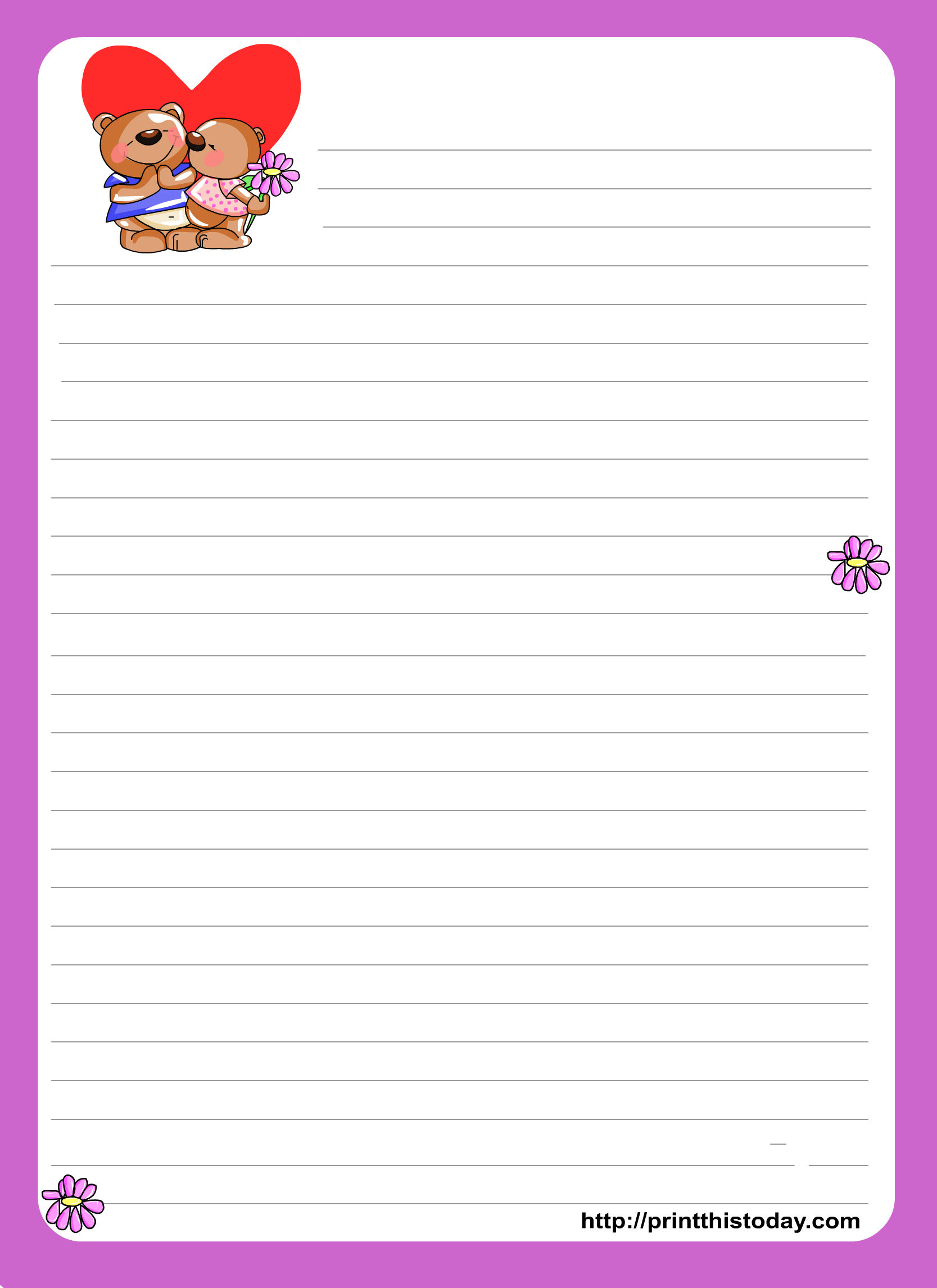 Love Letter Writing Paper - Free Printable Love Letter Paper