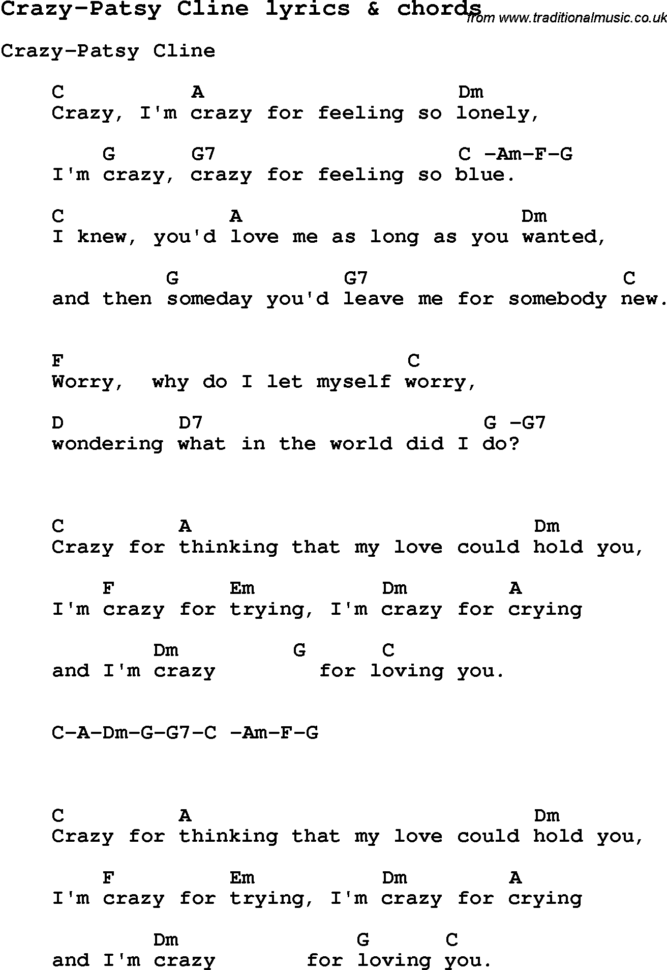 Love Song Lyrics For: Crazy-Patsy Cline With Chords For Ukulele - Free Printable Song Lyrics With Guitar Chords