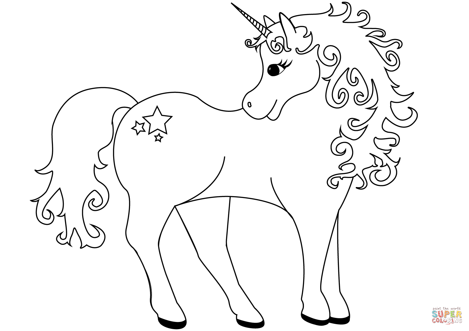 Lovely Unicorn Coloring Page | Free Printable Coloring Pages - Free Printable Unicorn Coloring Pages