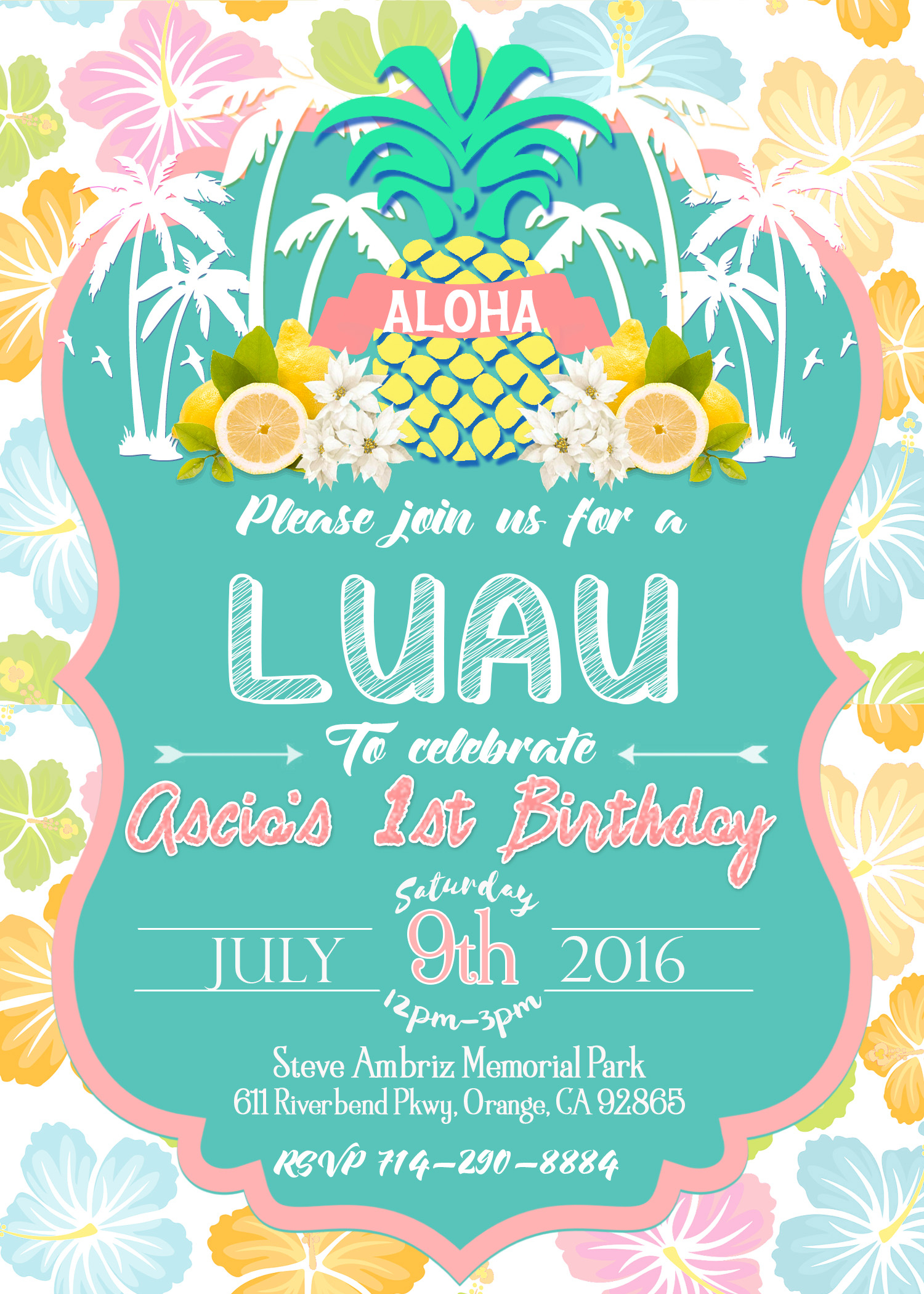 Luau Birthday Clipart Collection - Hawaiian Party Invitations Free Printable