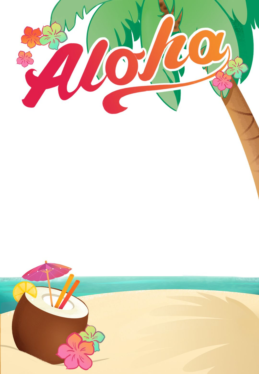 Luau Party - Free Printable Summer Party Invitation Template - Free Printable Birthday Party Flyers