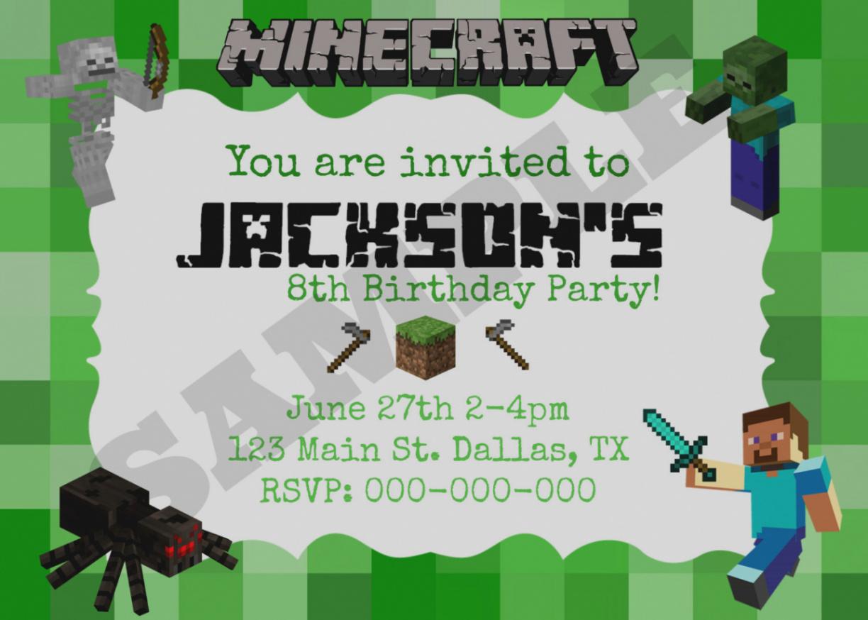 Luxury Free Printable Minecraft Birthday Party Invitations Templates - Free Printable Minecraft Birthday Party Invitations Templates