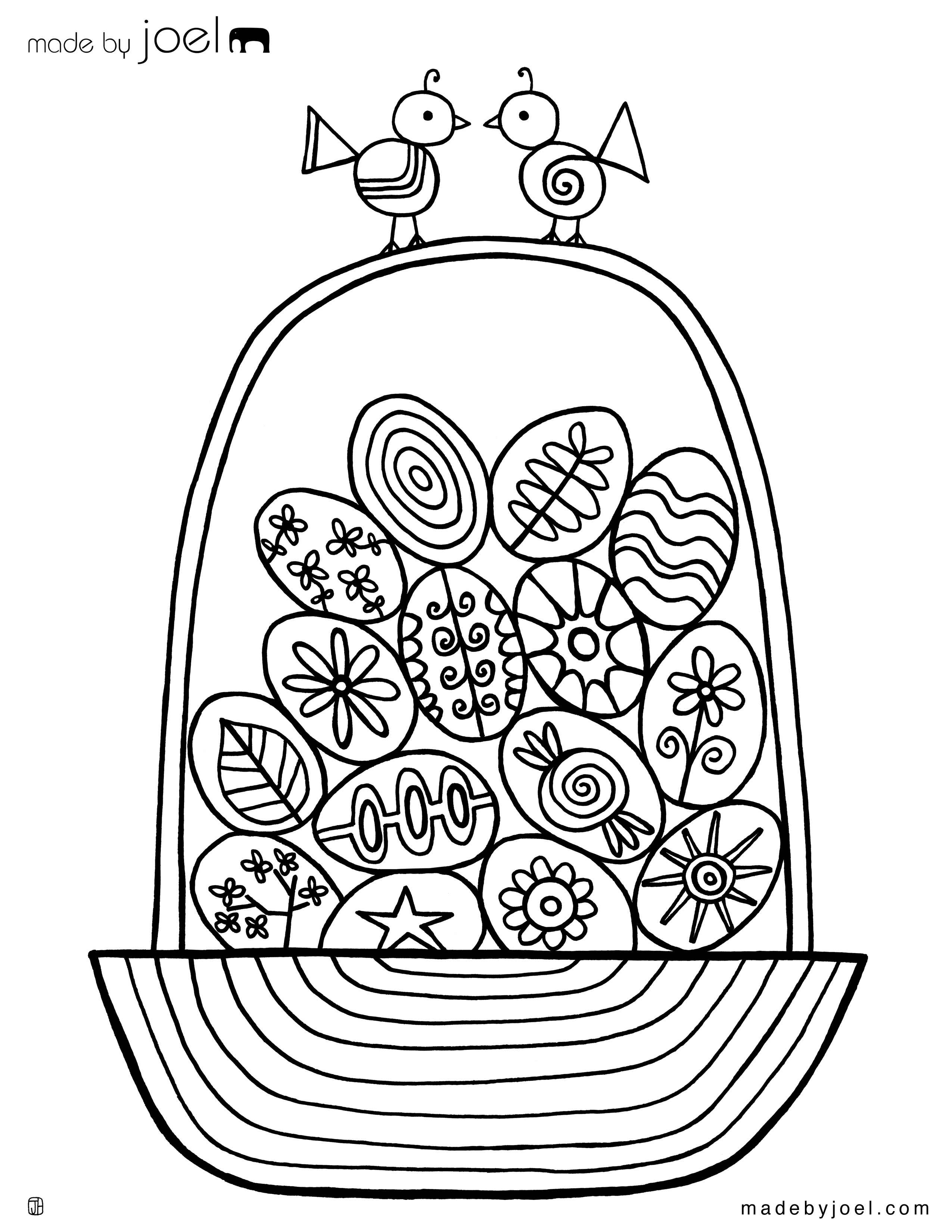 Madejoel » Easter Egg Basket Coloring Sheet - Free Printable Easter Basket Coloring Pages