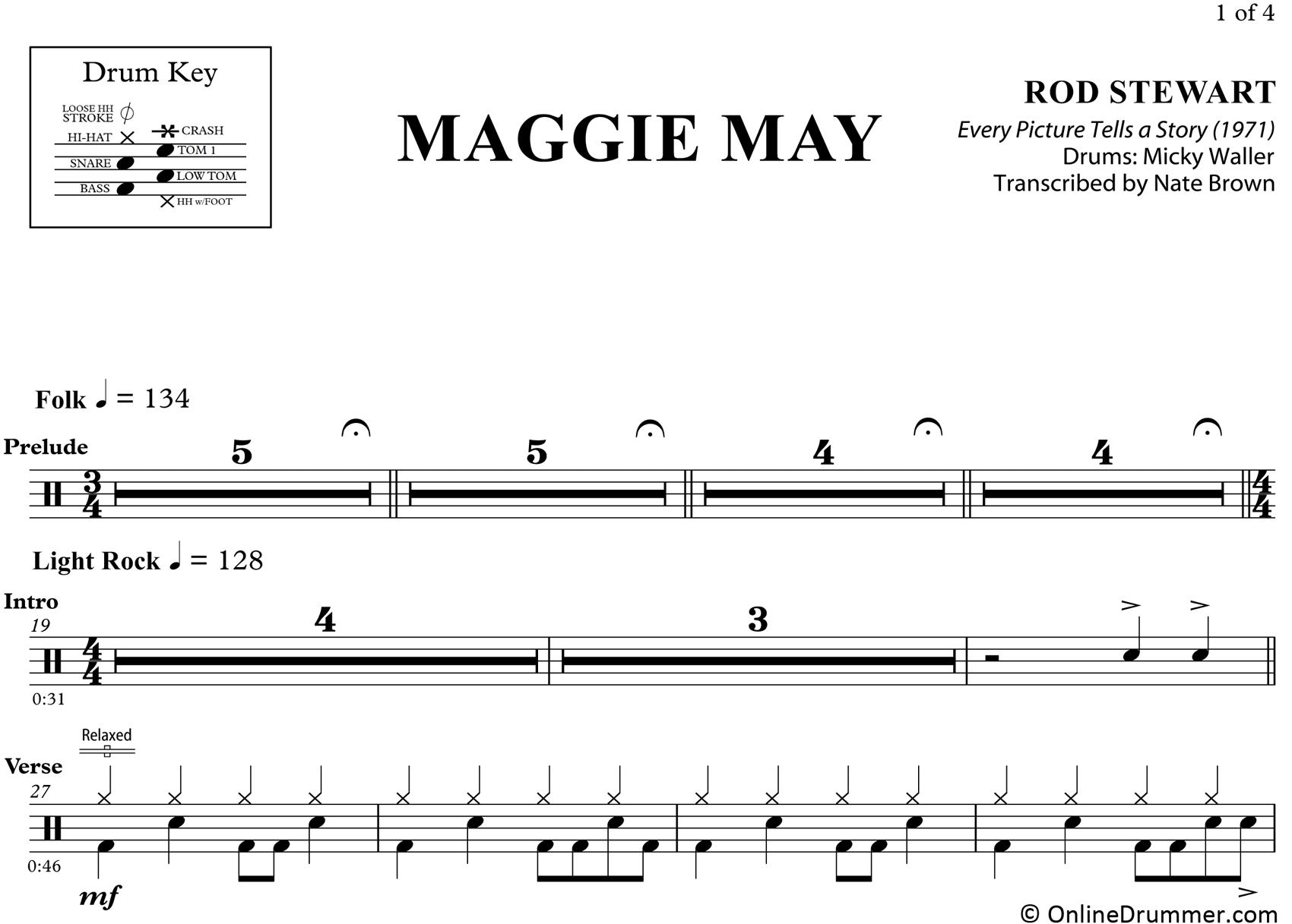 Maggie May – Rod Stewart – Drum Sheet Music – Onlinedrummer - Free Printable Drum Sheet Music