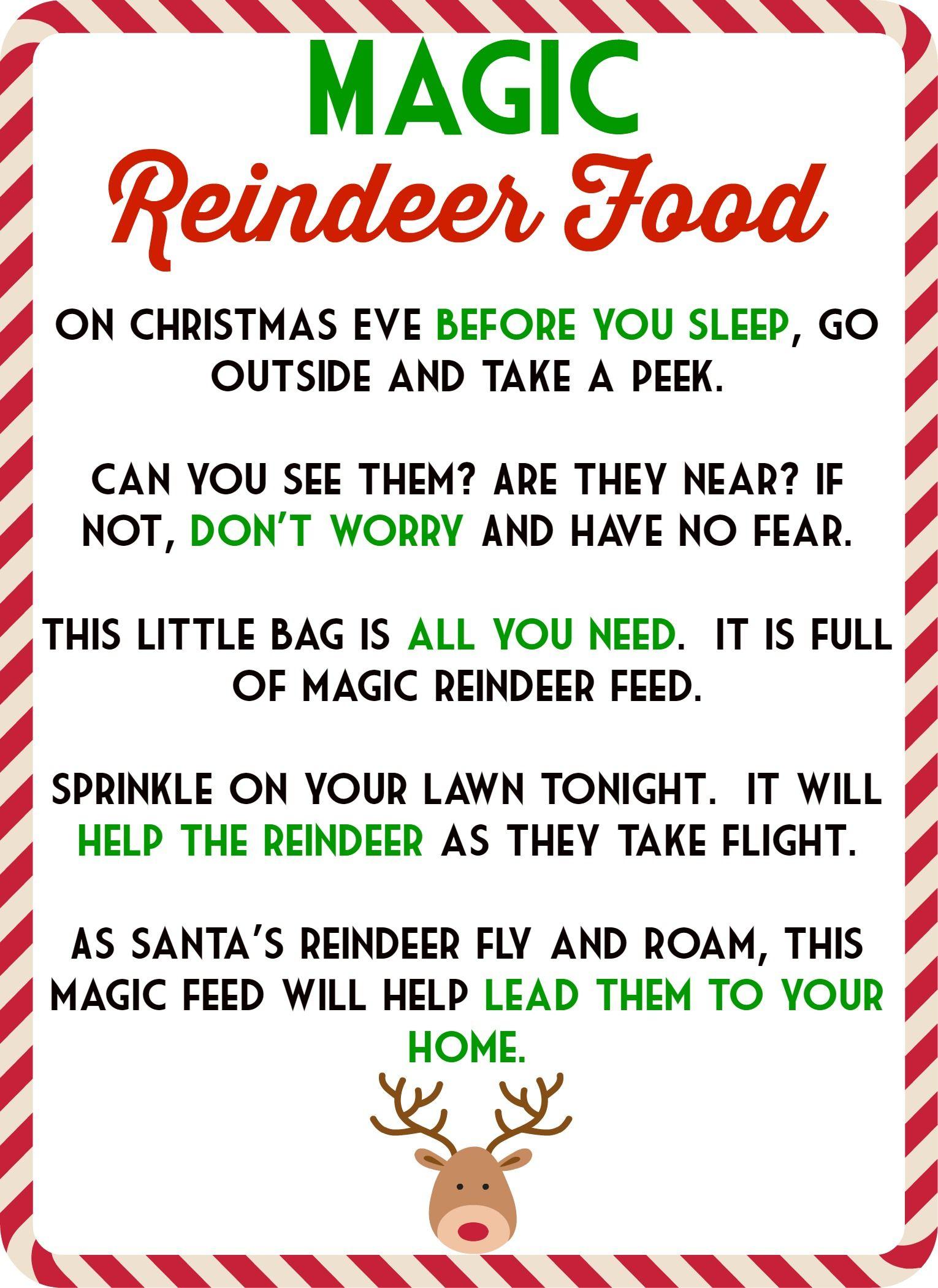 Magic Reindeer Food Poem & Free Printable | 1St Grade | Pinterest - Reindeer Food Poem Free Printable