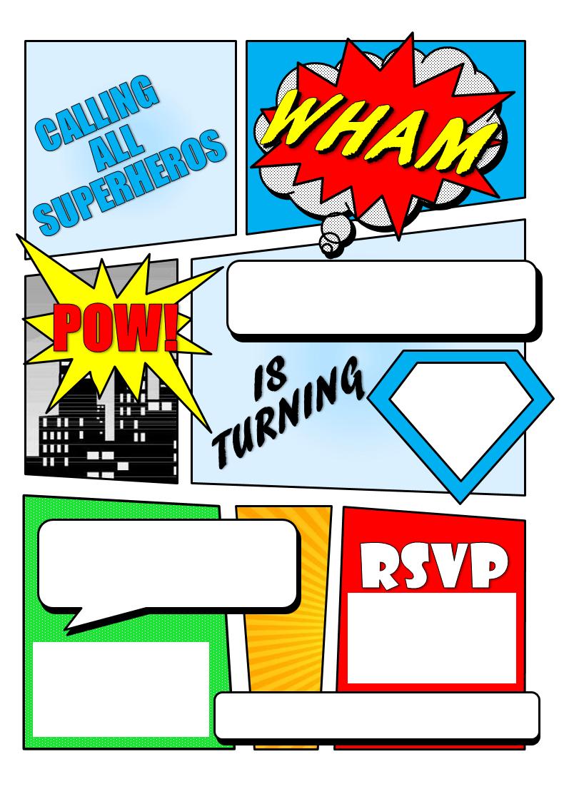 Make Your Own Comic Book Printable | Superhero Comic Book Party - Free Printable Superman Invitations