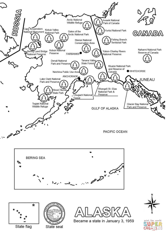 Map Of Alaska Coloring Page | Free Printable Coloring Pages - Free Printable Pictures Of Alaska