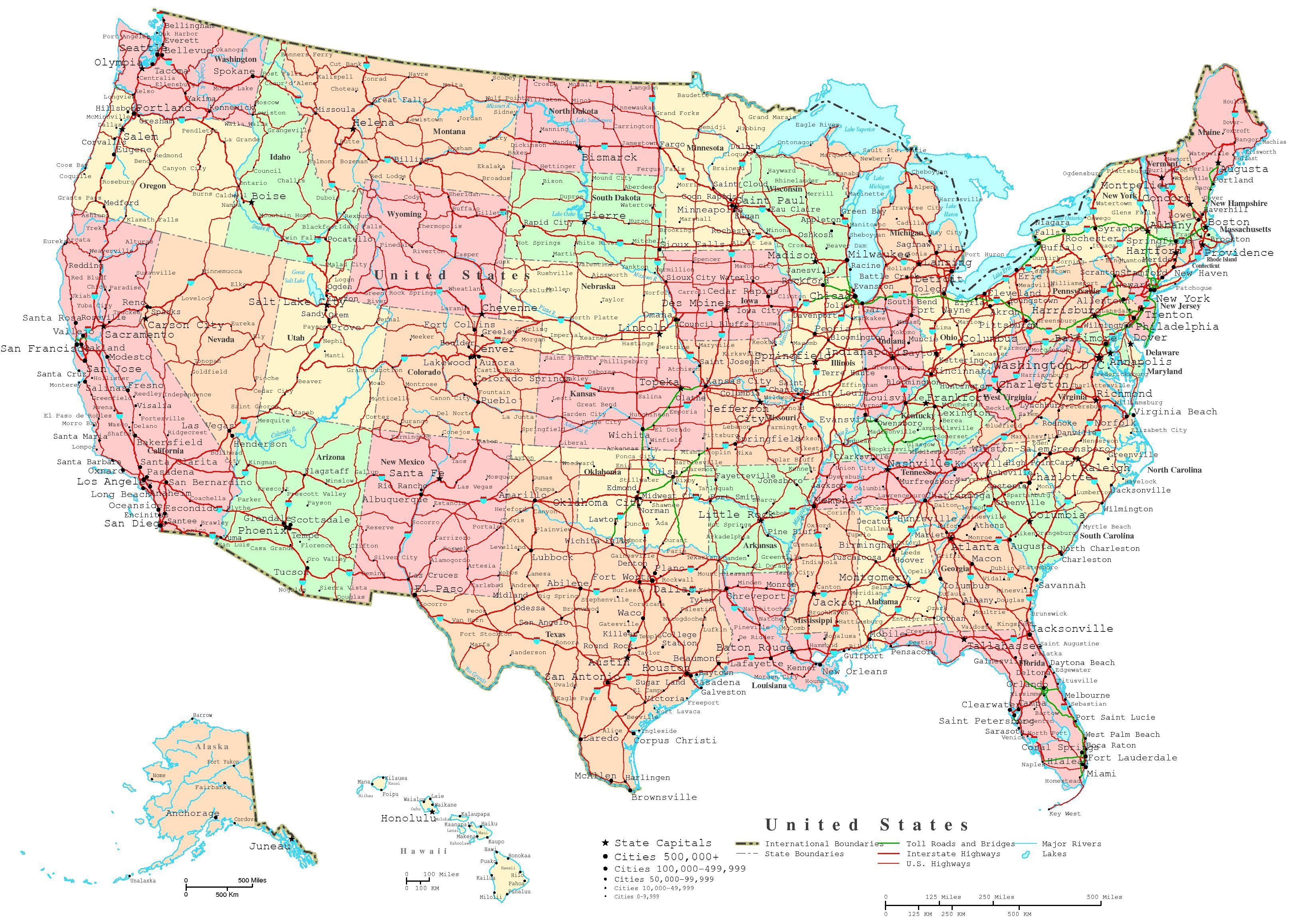 Map Of The Us States | Printable United States Map | Jb's Travels - Free Printable Map Of The United States