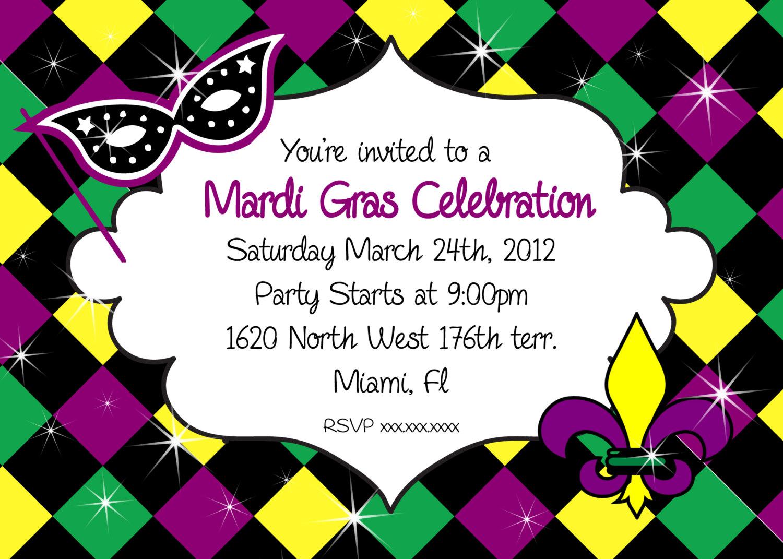 Mardi Gras Invitation Party Printable Invitation Mardi Gras | Etsy - Free Printable Mardi Gras Invitations