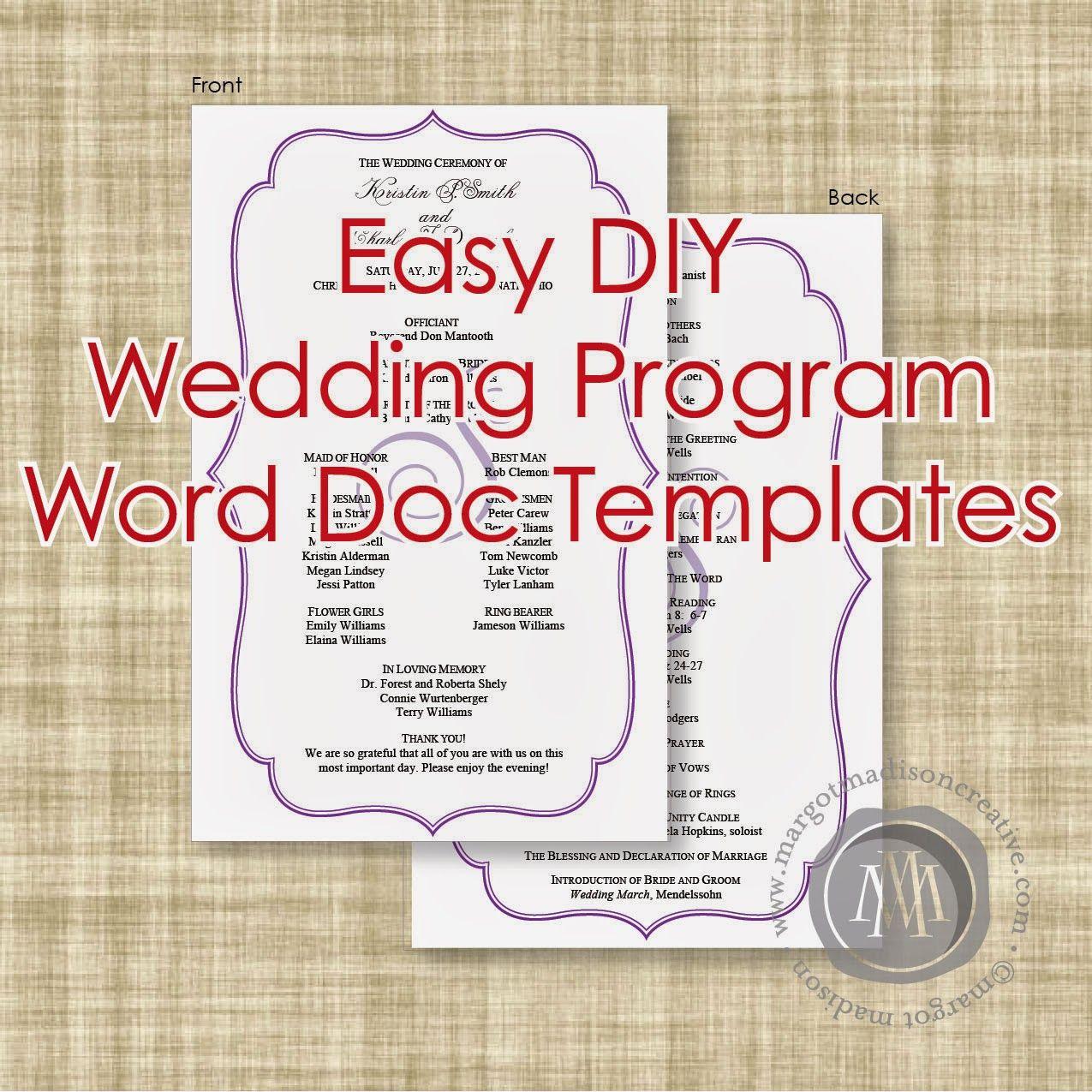 Margotmadison: Diy Wedding Program Word Doc Templates Now Available - Free Printable Wedding Program Templates Word