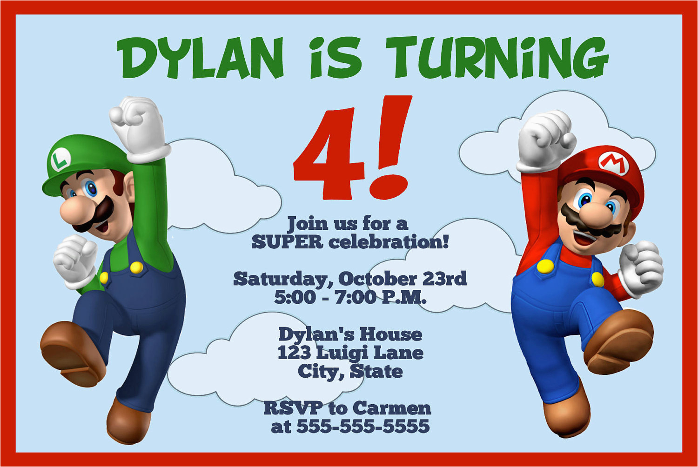 Mario And Luigi Birthday Invitations | Birthdaybuzz - Free Printable Super Mario Bros Invitations