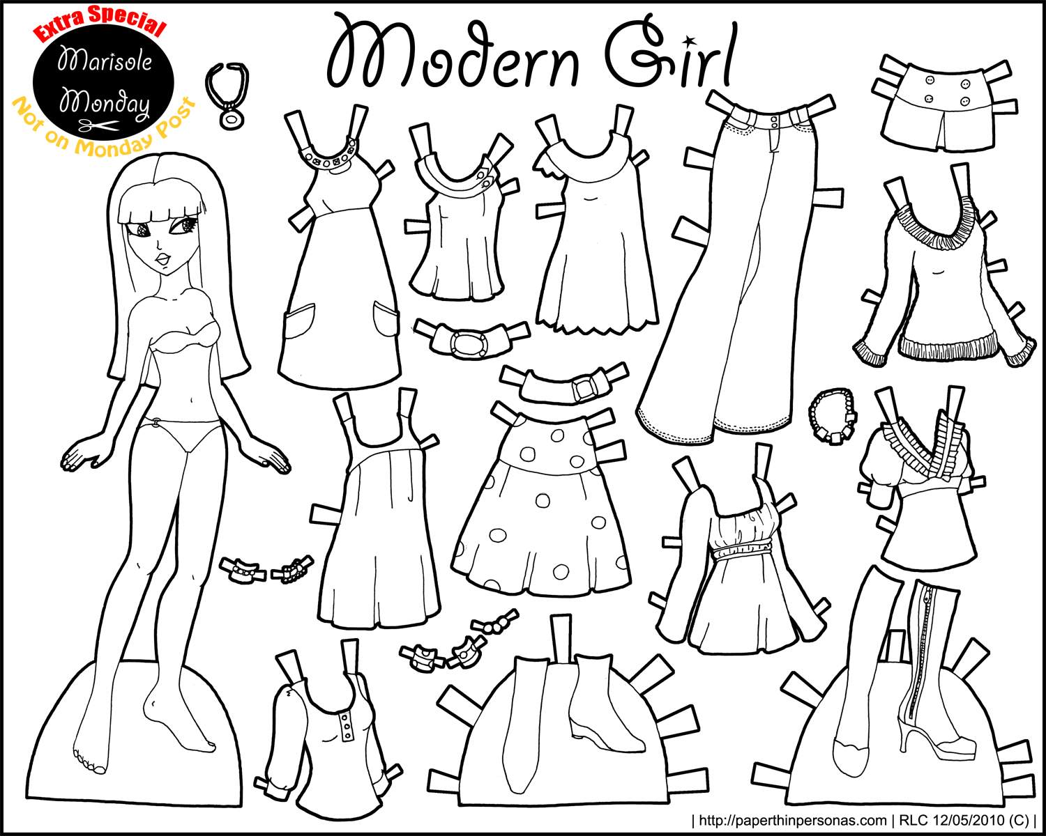 Marisole Monday: Modern Girl In Black & White | Coloring Pages - Free Printable Paper Dolls Black And White