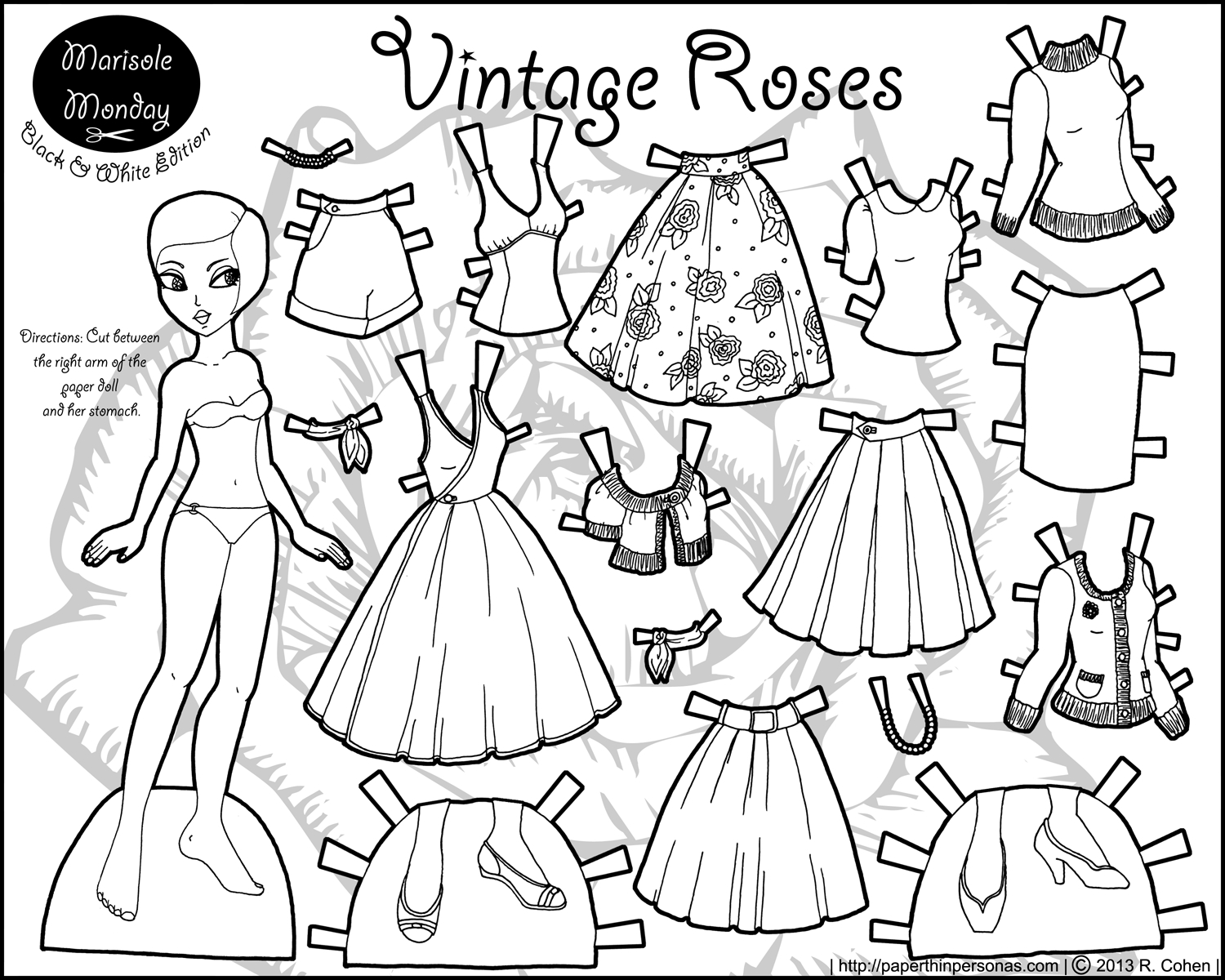 Marisole Monday: Vintage Roses | Coloring! | Paper Dolls, Paper - Free Printable Paper Doll Coloring Pages