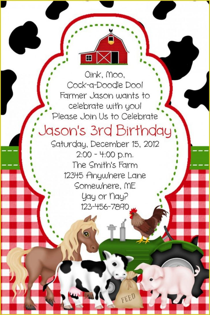 Free Printable Farm Birthday Invitations