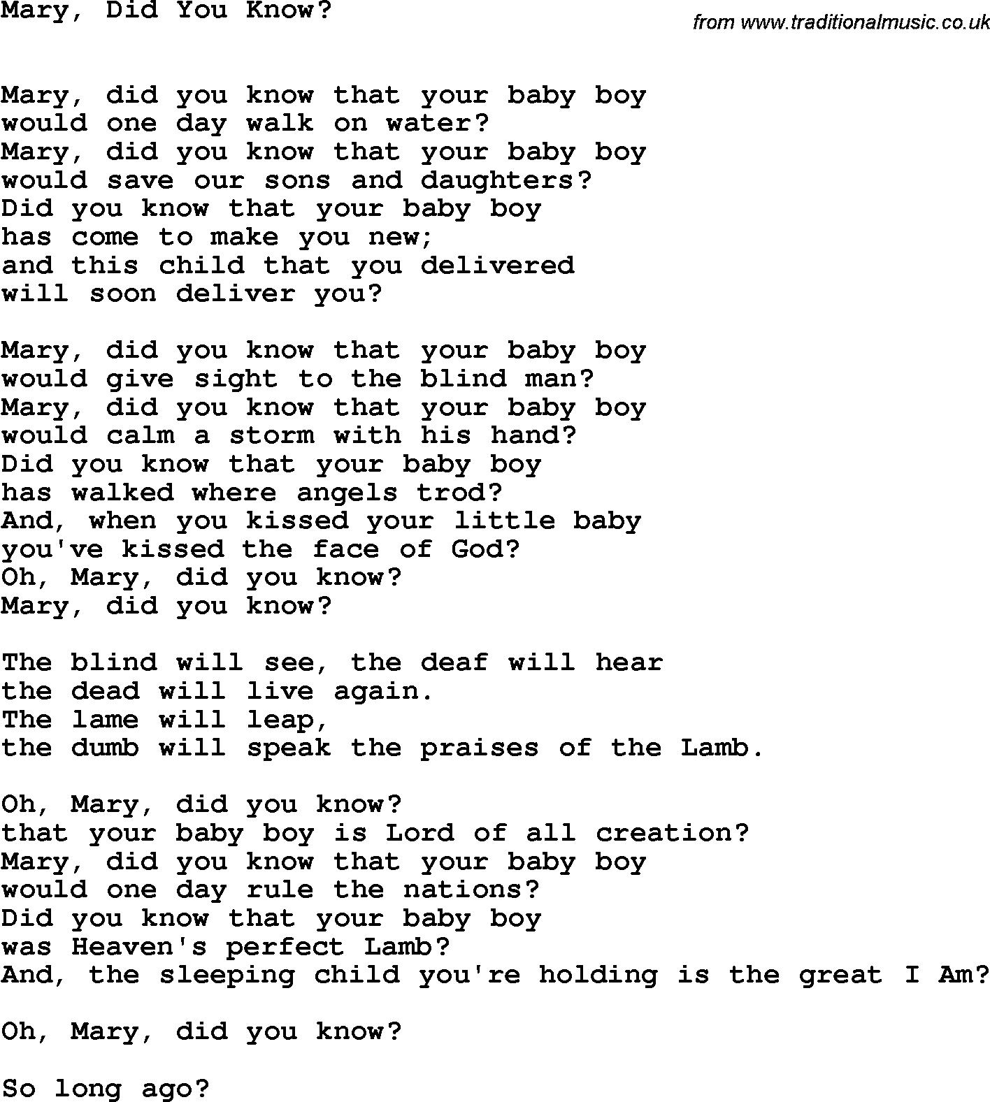 Mary+Did+You+Know+Lyrics   Country, Southern And Bluegrass Gospel - Free Printable Gospel Music Lyrics