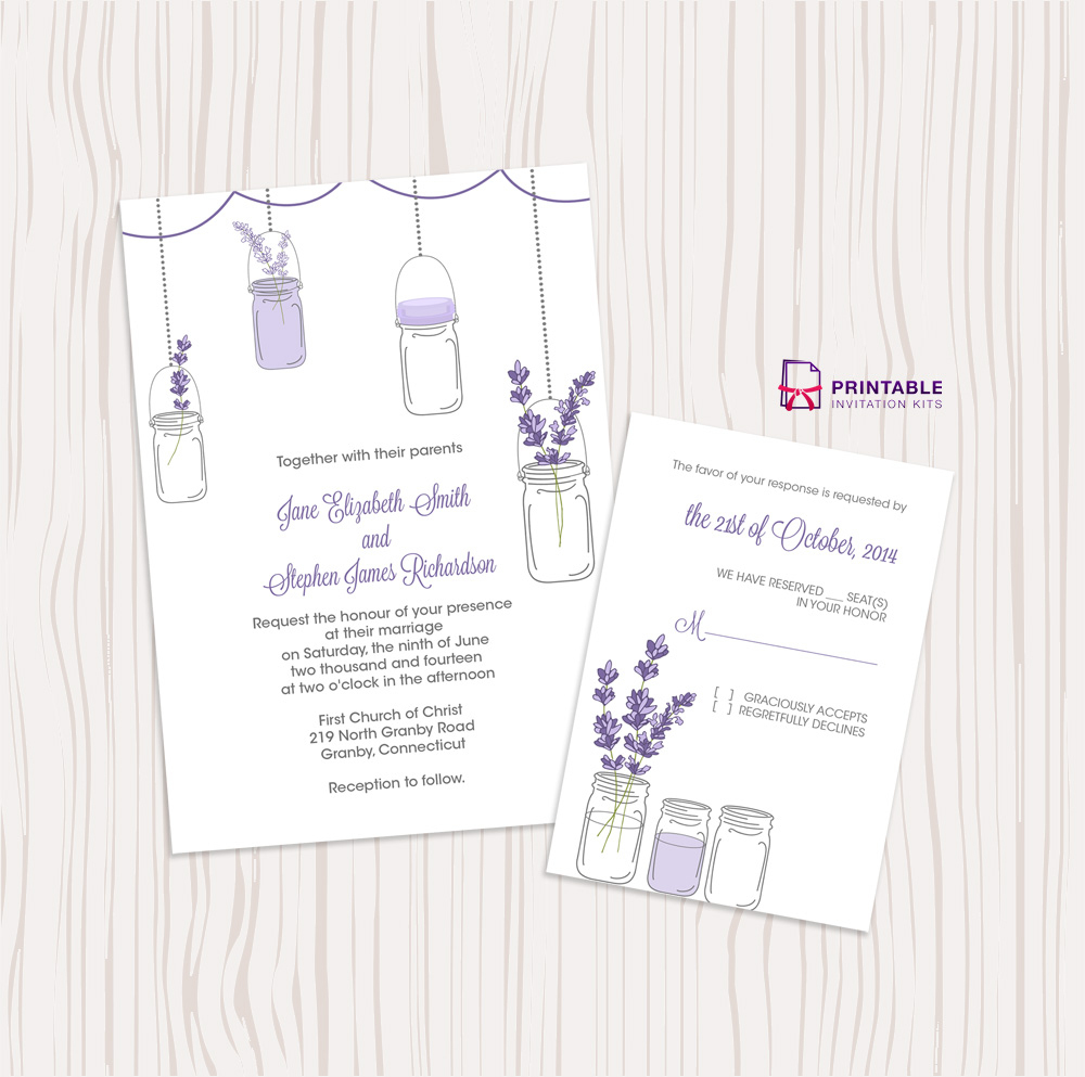 Mason Jar And Lavender Invitation And Rsvp Set ← Wedding Invitation - Free Printable Wedding Invitation Kits