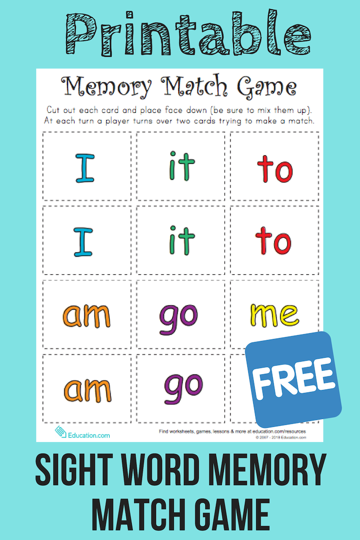 Match Game: Sight Word Memory Match   Reading   Pinterest   Sight - Literacy Posters Free Printable