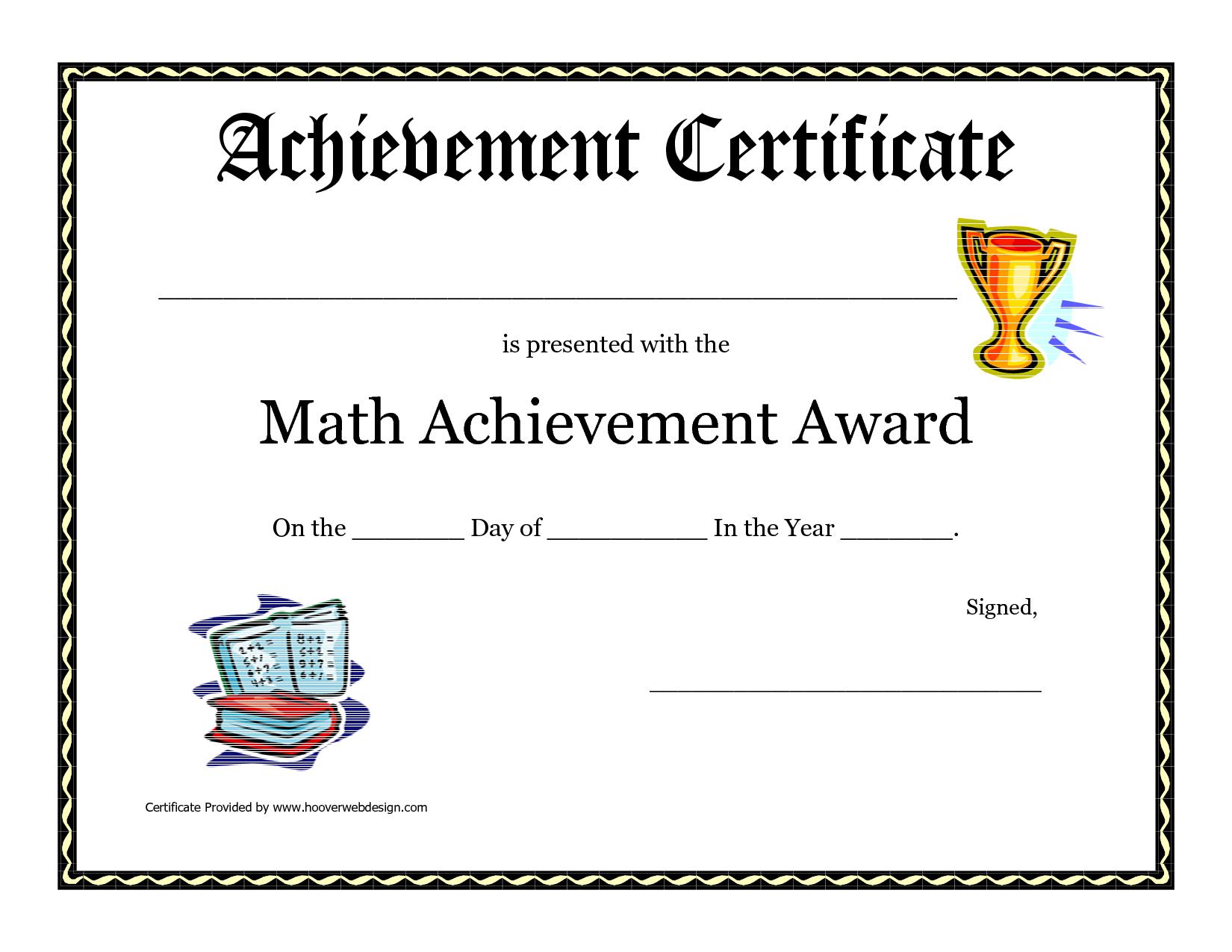 Math Achievement Award Printable Certificate Pdf | Math Activites - Free Printable Swimming Certificates For Kids