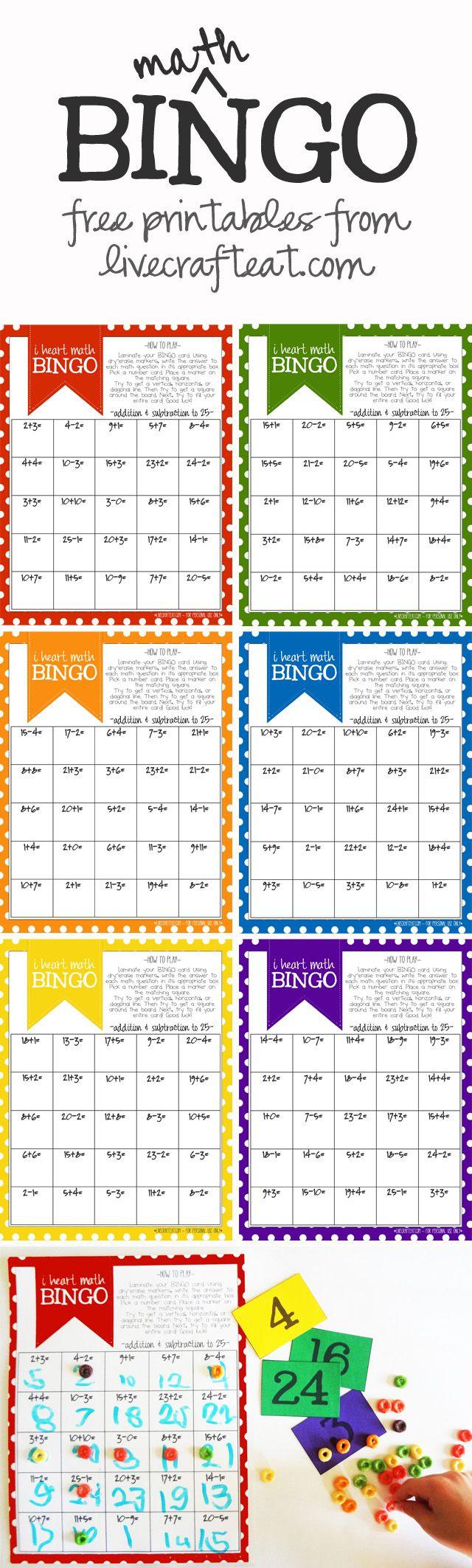 Math Bingo Printable For Kids - Free | Math Activities | Pinterest - Math Bingo Free Printable