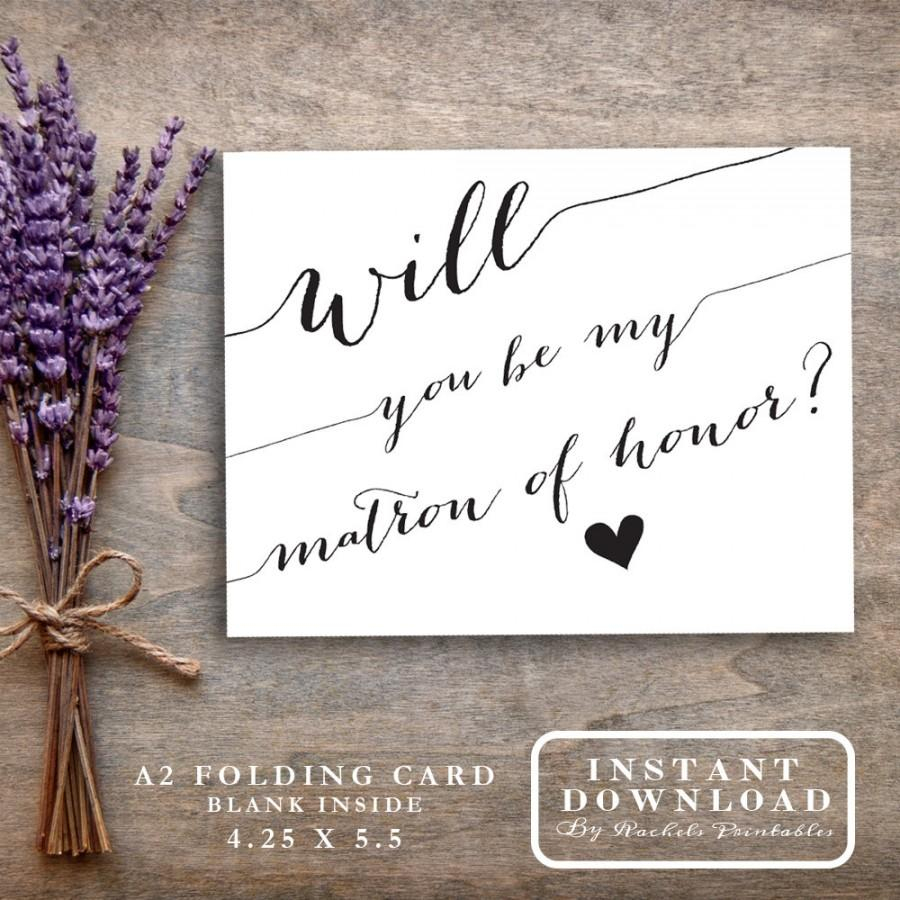 "Matron Of Honor Card Printable ""will You Be My Matron Of Honor?"" Ask - Free Printable Will You Be My Maid Of Honor Card"
