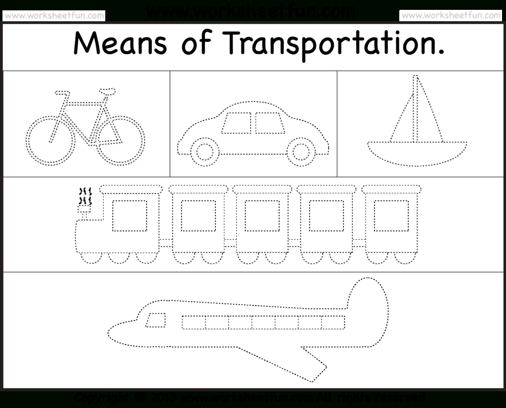 Means Of Transportation – Tracing Worksheet / Free Printable | Kgi - Free Printable Transportation Worksheets For Kids