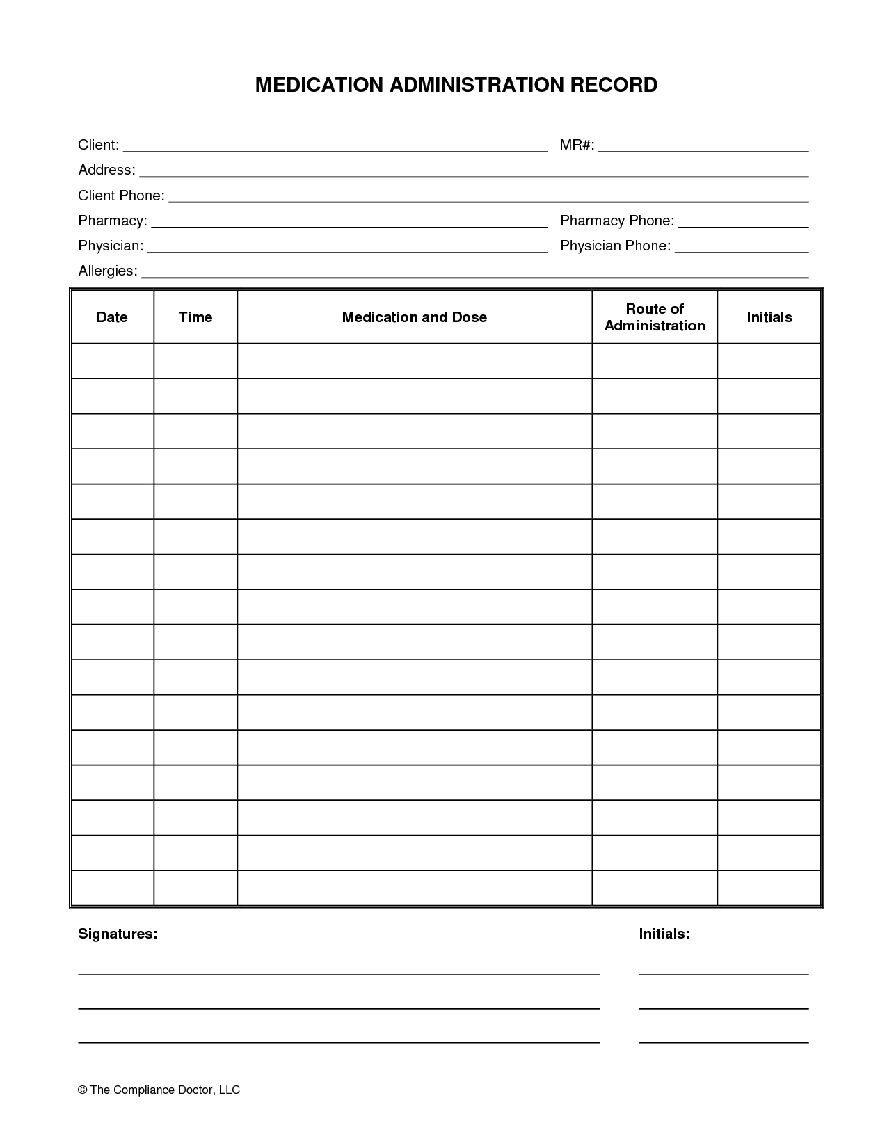 Medication Administration Record Form | Organization | Pinterest - Free Printable Forms For Organizing
