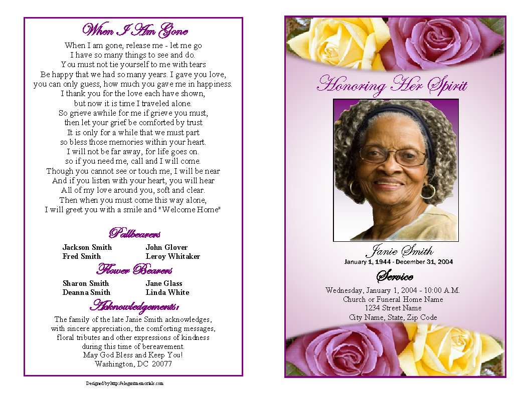 Memorial Service Programs Sample | Choose From A Variety Of Cover - Free Printable Memorial Card Template
