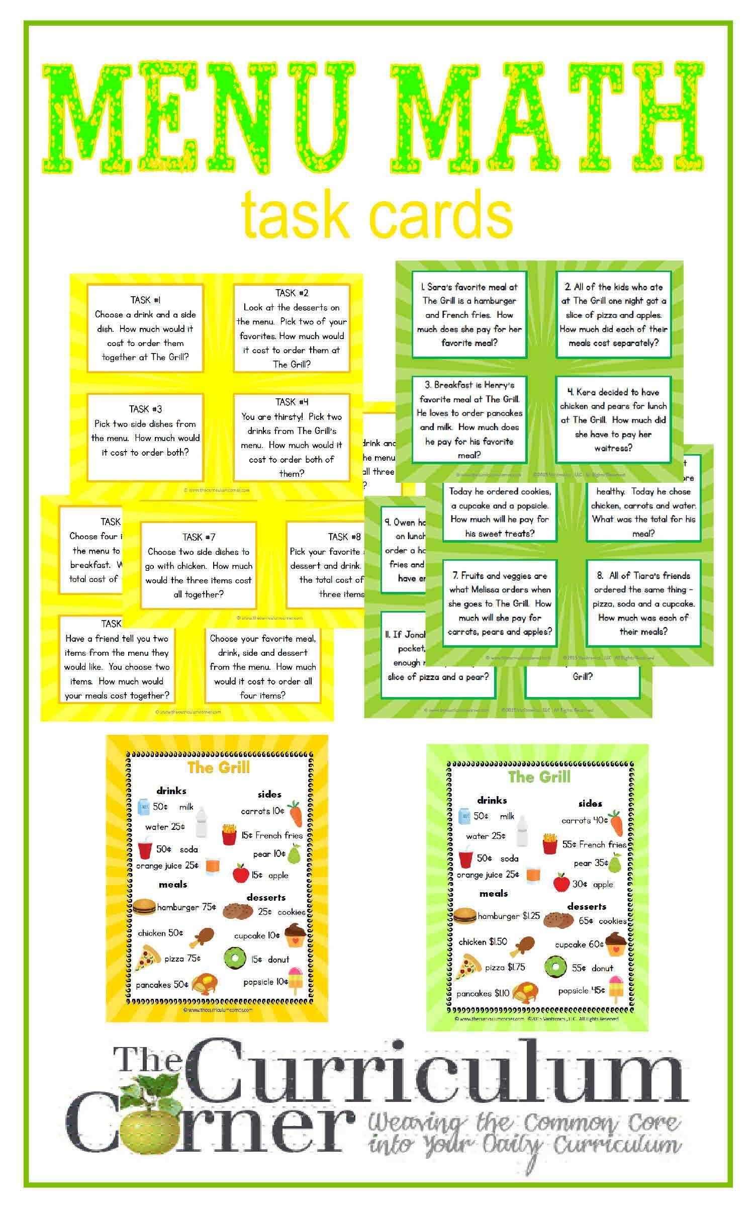 Menu Math Center - The Curriculum Corner 123 - Free Printable Menu Math Worksheets