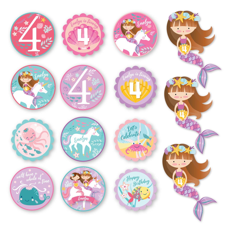 Mermaid / Unicorn Cupcake Toppers - Customized Printable Diy, Girl's - Free Printable Mermaid Cupcake Toppers