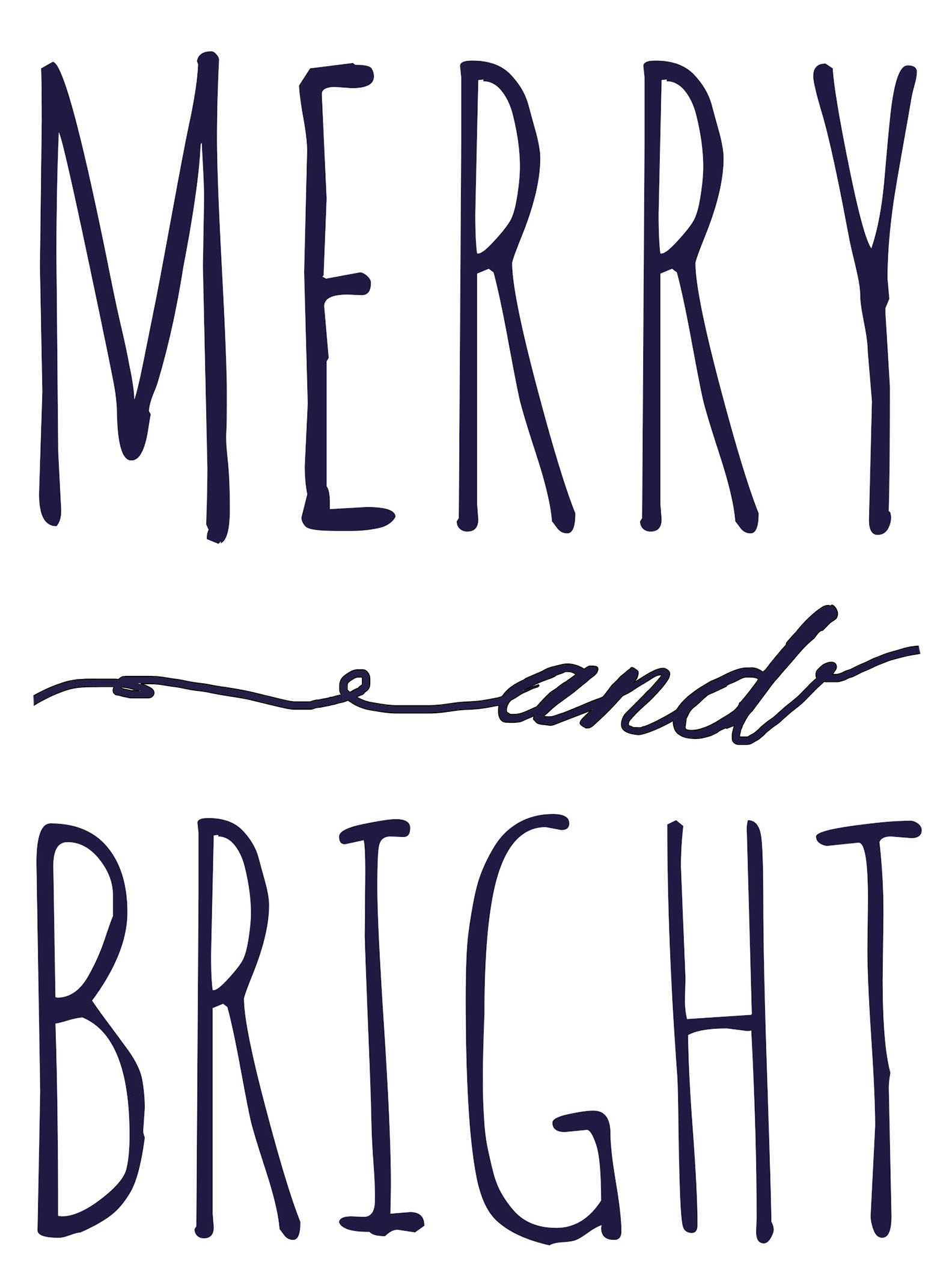 Merry And Bright Free Printable Template | Fantastically Free Fonts - Merry Christmas Stencil Free Printable