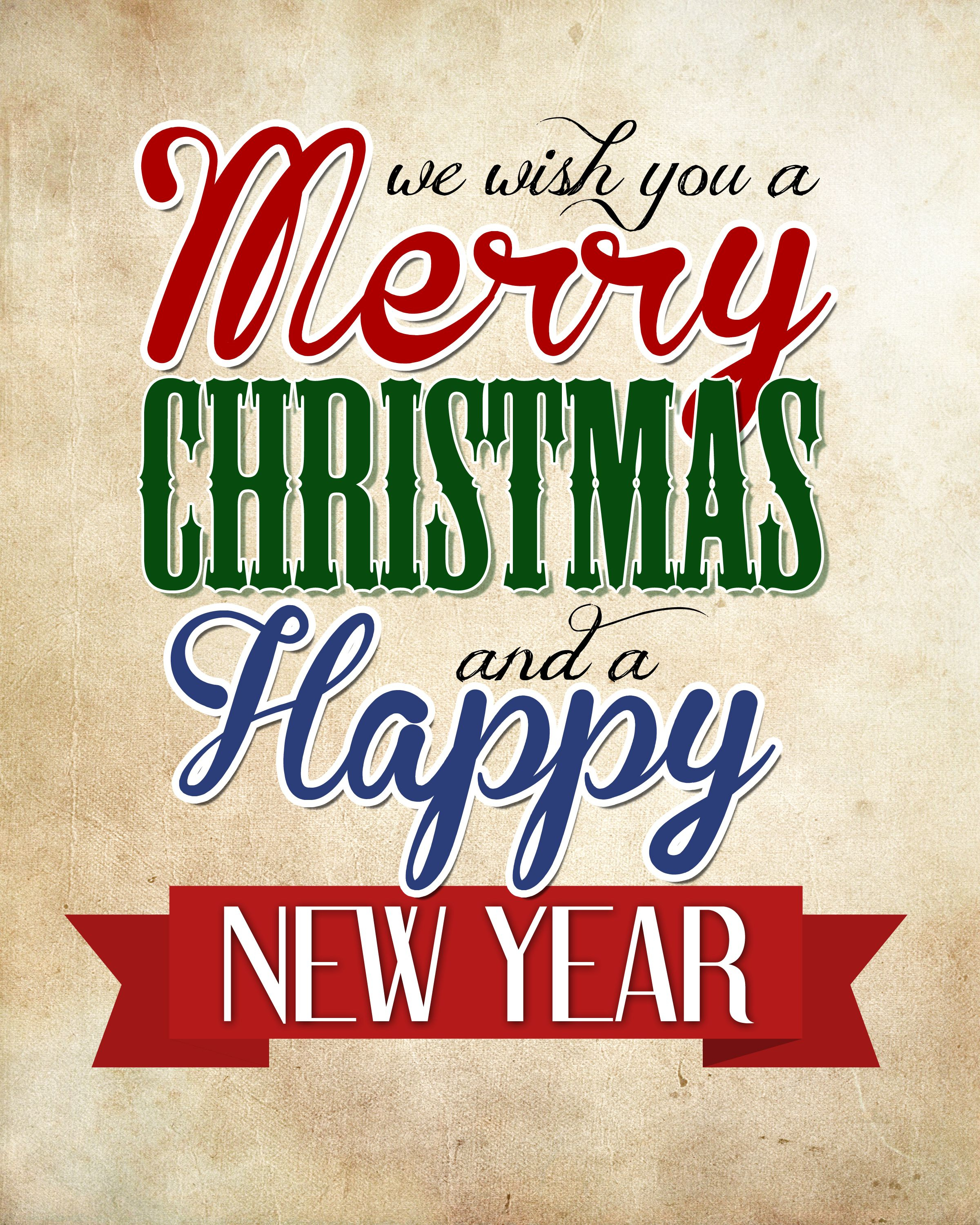 Merry Christmas & Happy New Year Free Printable | Silhouette - Free Printable Happy New Year Cards