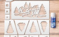 Merry Christmas Stencils Kit. Stencils For Windows Decoration. +Free – Merry Christmas Stencil Free Printable