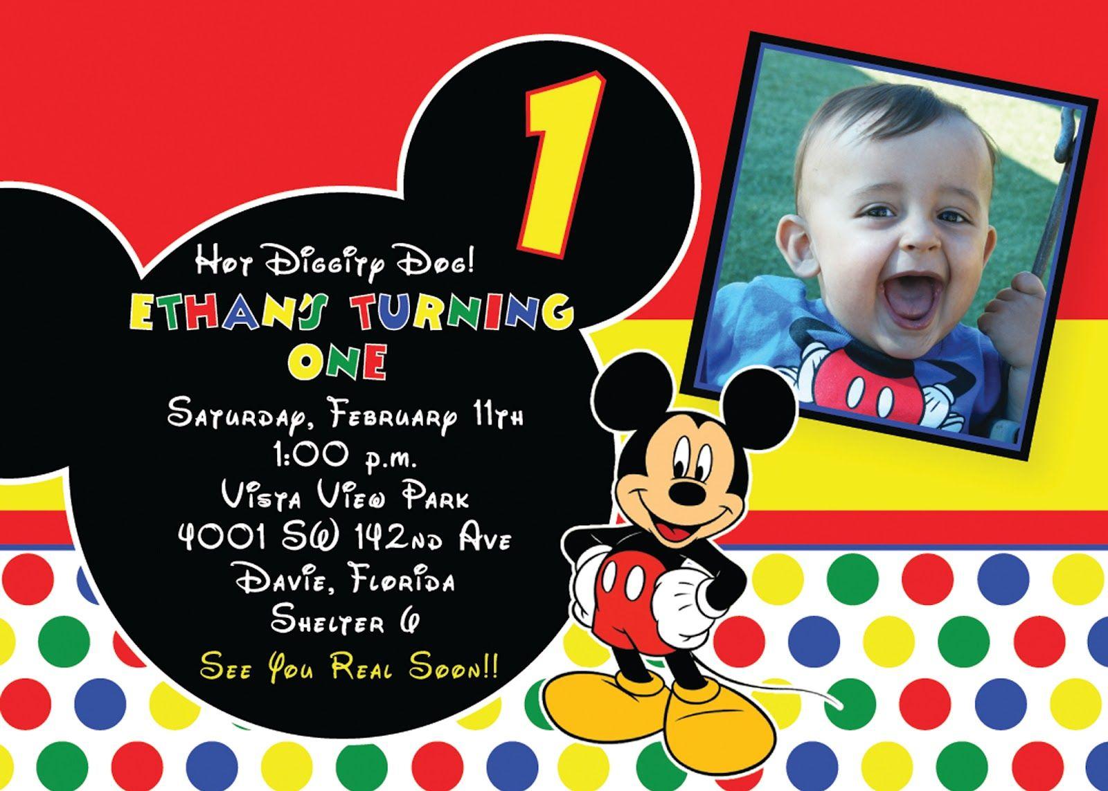Mickey Mouse 1St Birthday Invitations | Free Printable Birthday - Free Printable Mickey Mouse 1St Birthday Invitations