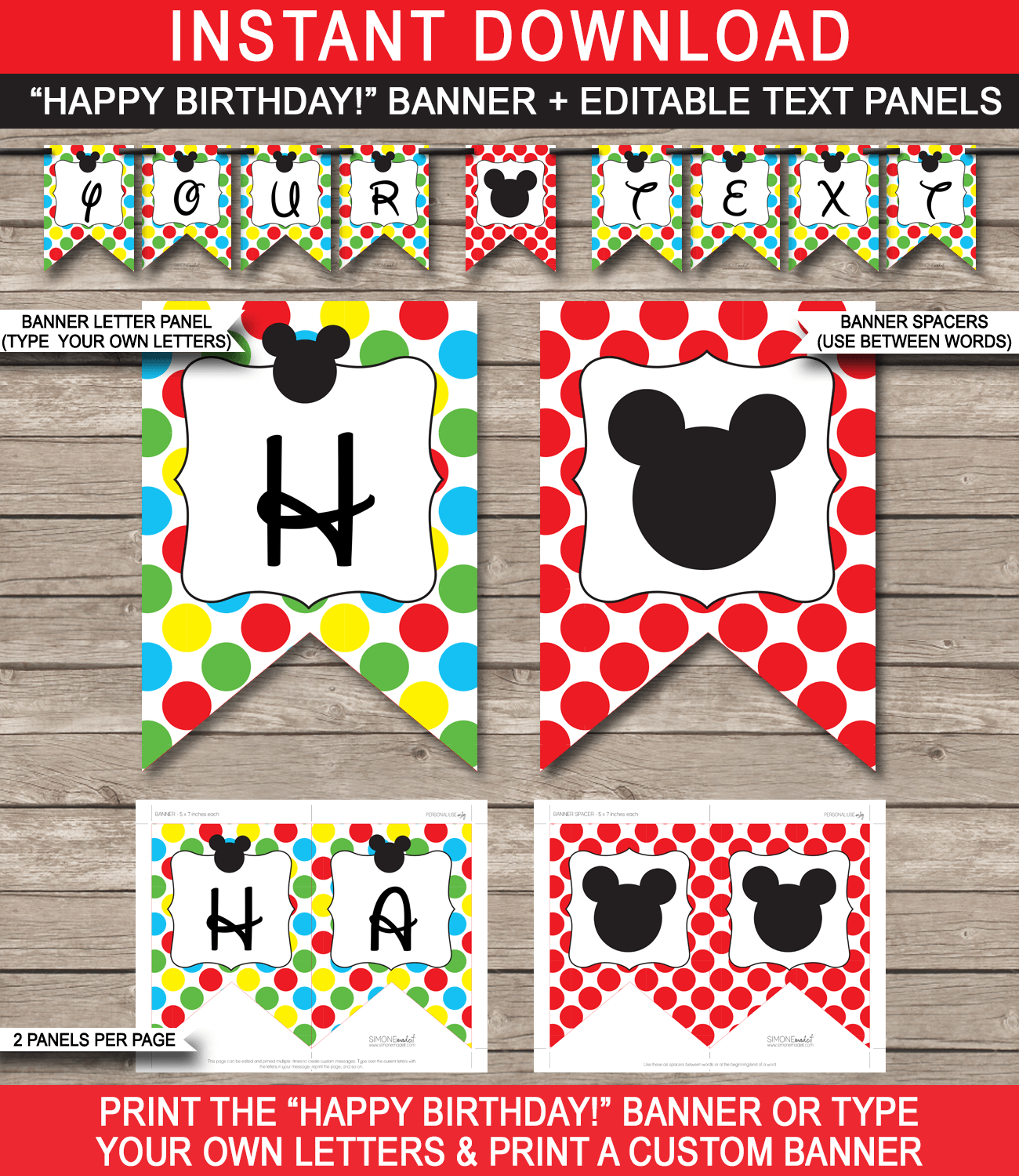 Mickey Mouse Party Banner Template | Birthday Banner | Editable - Free Printable Mickey Mouse Birthday Banner