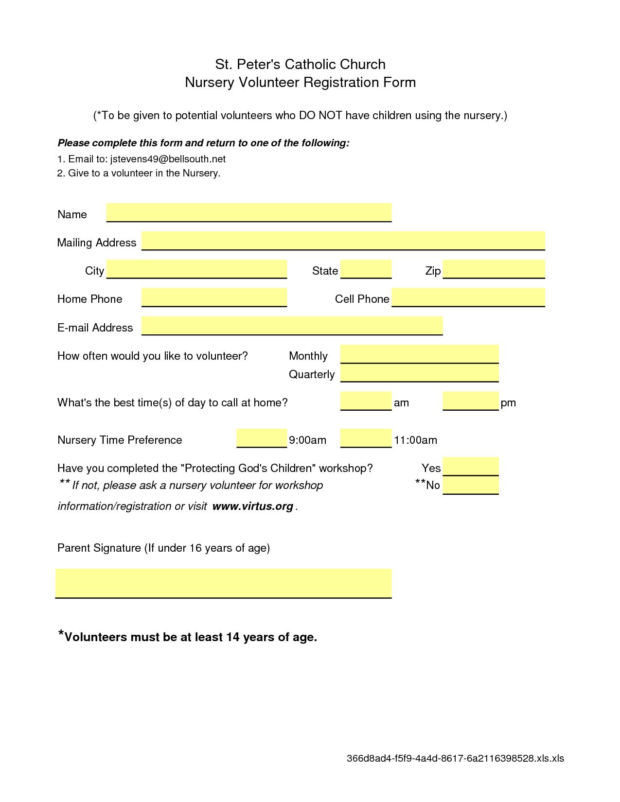 Microsoft Excel: Nursery Volunteer Registration Form   Worship Care - Free Printable Volunteer Forms