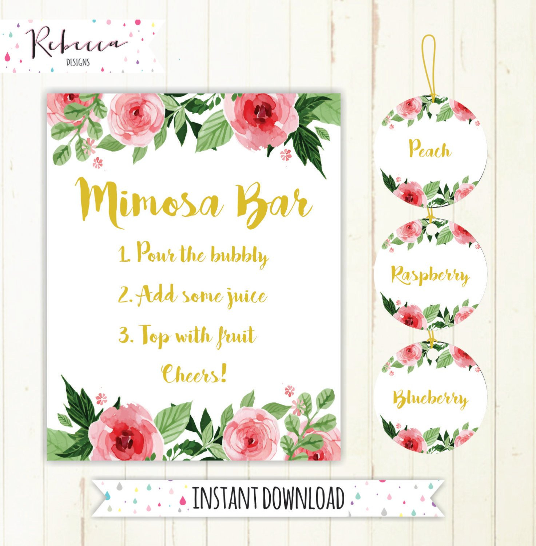 Mimosa Bar Sign Juice Labels Mimosa Bar Printable Sign Floral | Etsy - Free Printable Mimosa Bar Sign