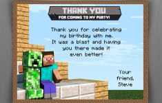 Minecraft Thank You Card Template - Free Printable Minecraft Thank You Notes